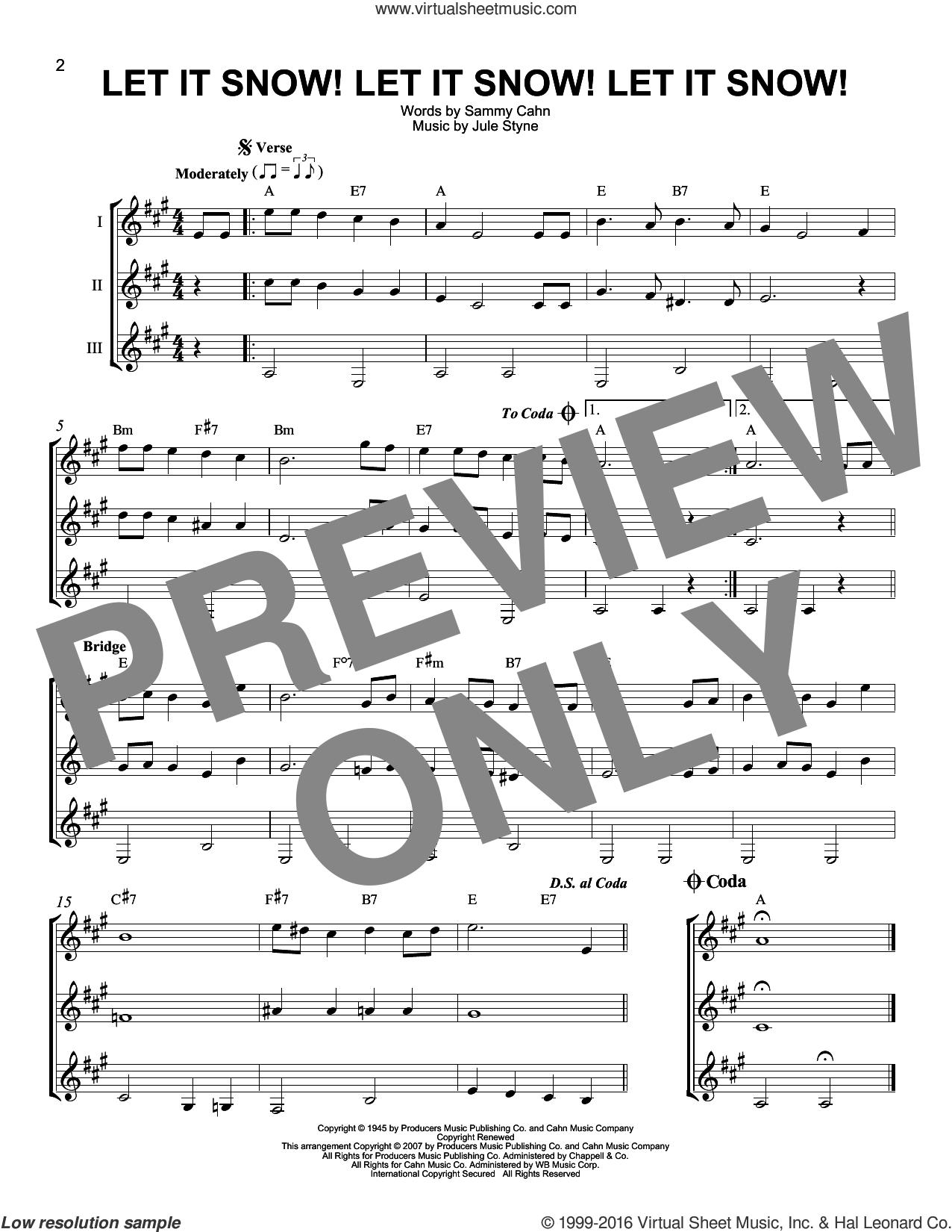 Let It Snow! Let It Snow! Let It Snow! sheet music for guitar ensemble by Sammy Cahn, Jule Styne and Sammy Cahn & Julie Styne, intermediate skill level