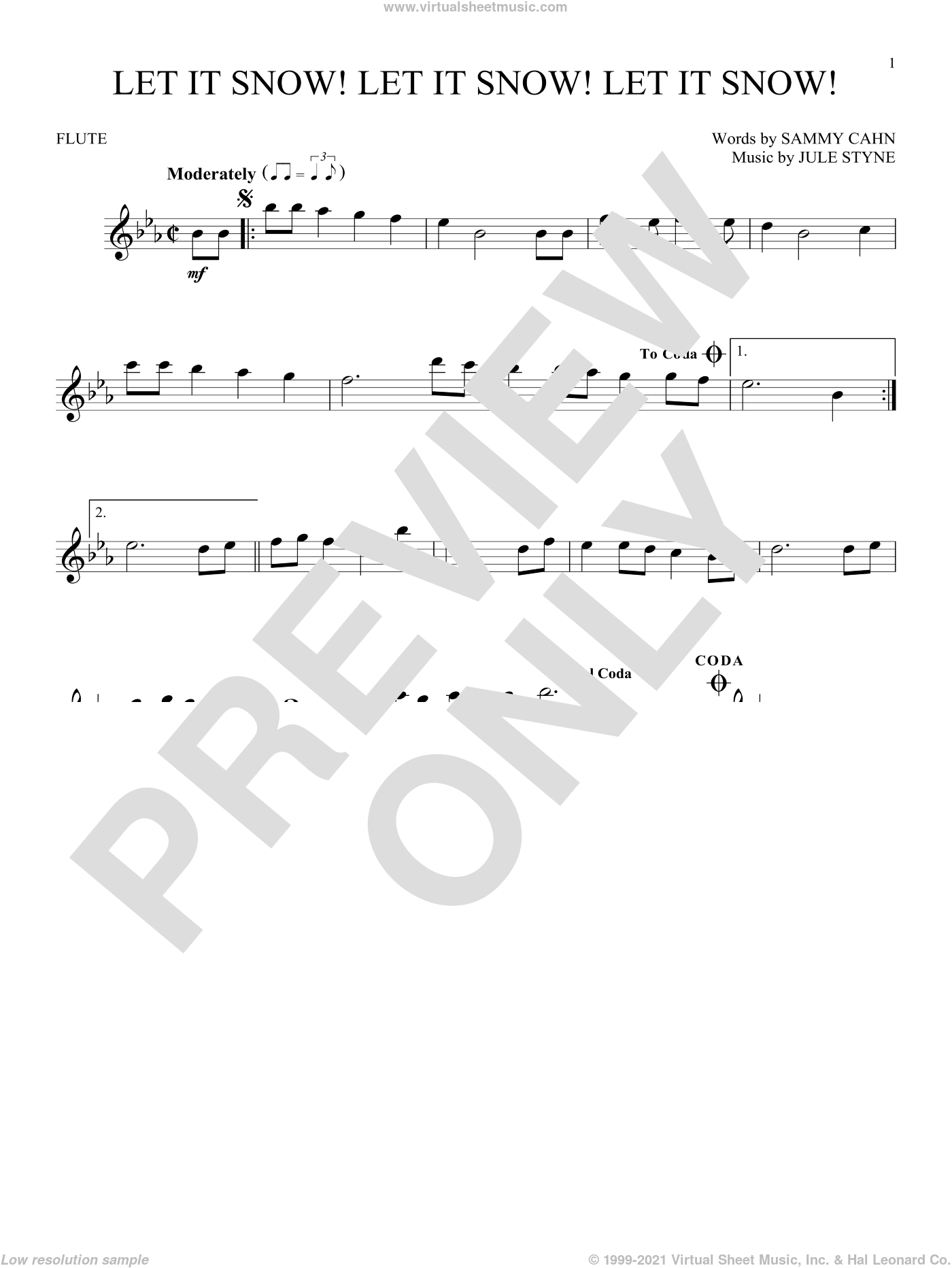 Let It Snow! Let It Snow! Let It Snow! sheet music for flute solo by Sammy Cahn and Jule Styne. Score Image Preview.