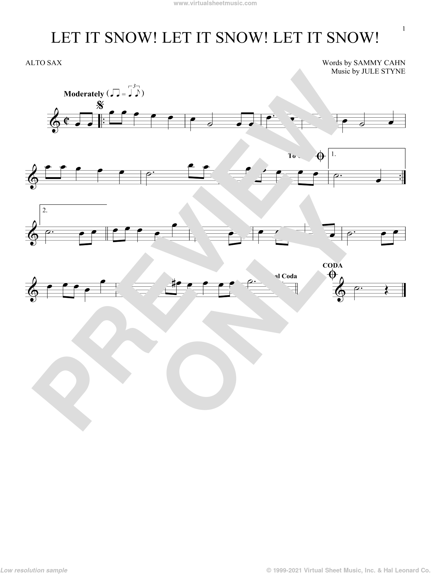 Let It Snow! Let It Snow! Let It Snow! sheet music for alto saxophone solo by Sammy Cahn, Jule Styne and Sammy Cahn & Julie Styne, intermediate. Score Image Preview.