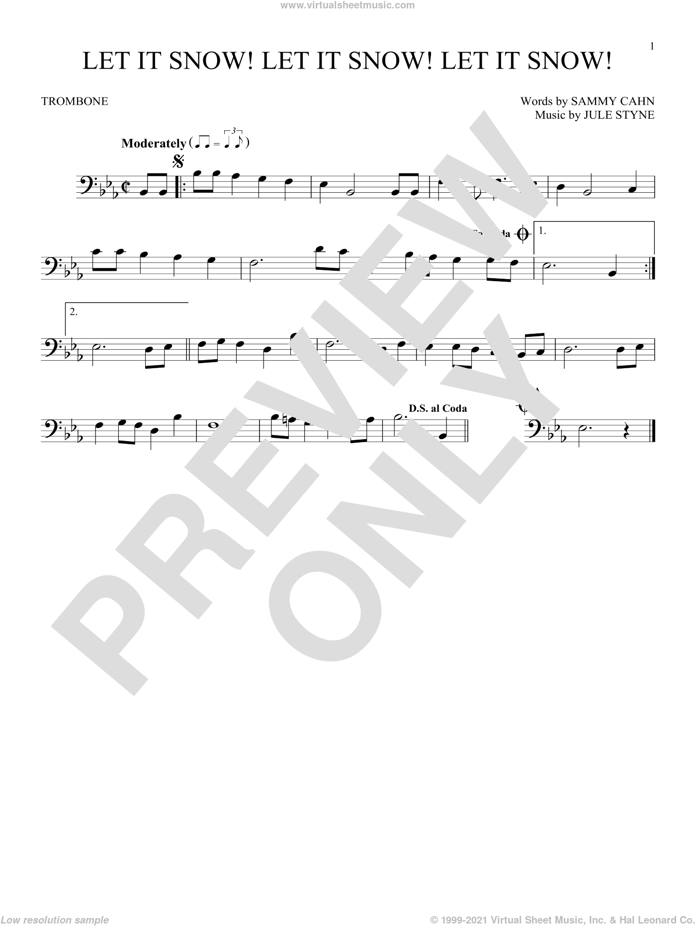 Let It Snow! Let It Snow! Let It Snow! sheet music for trombone solo by Sammy Cahn and Jule Styne. Score Image Preview.