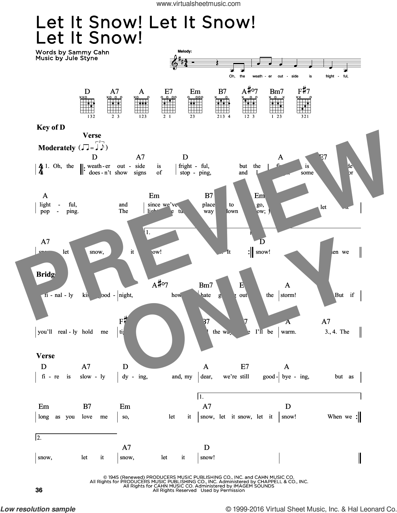 Let It Snow! Let It Snow! Let It Snow! sheet music for guitar solo (lead sheet) by Sammy Cahn and Jule Styne. Score Image Preview.