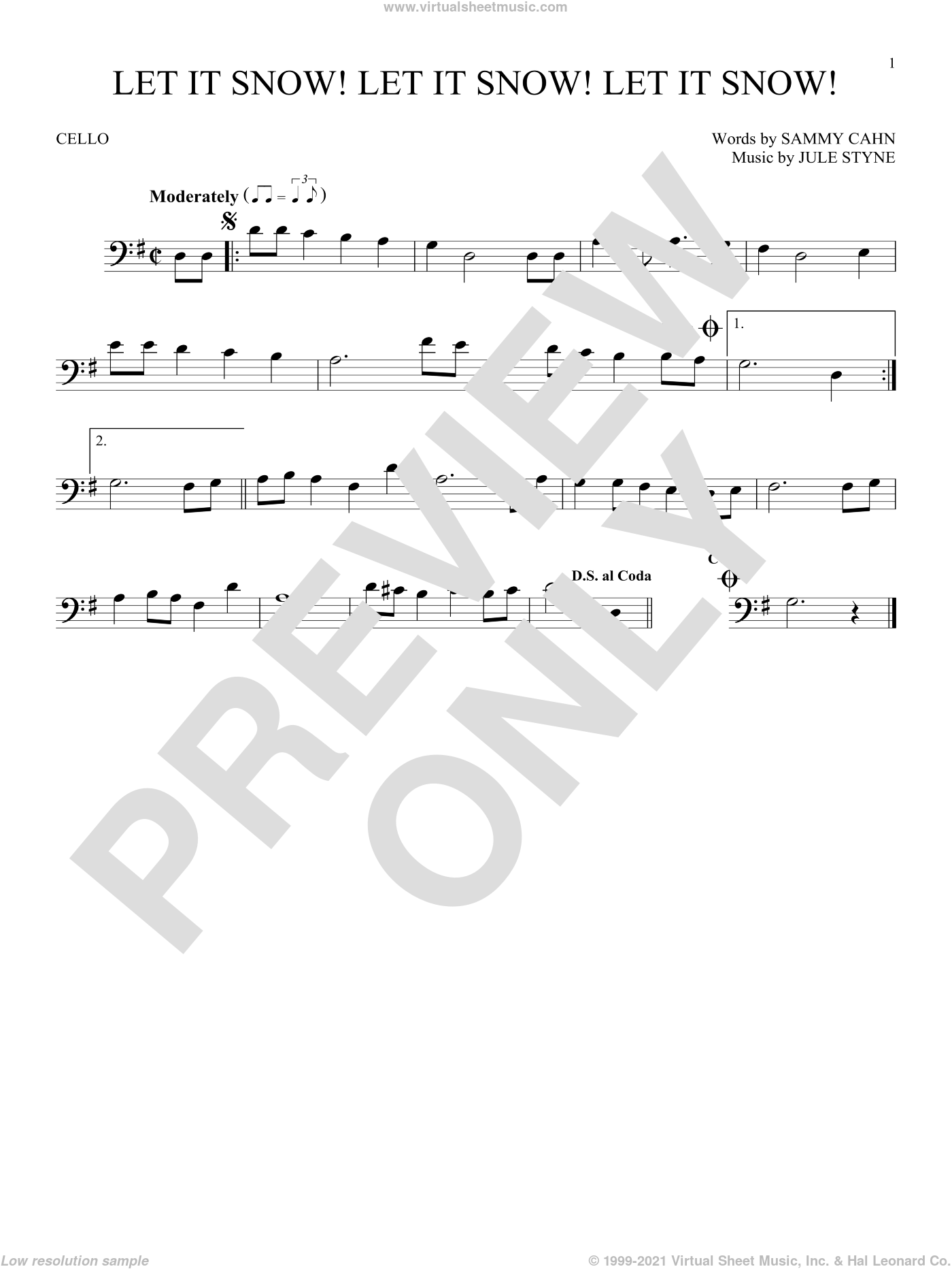 Let It Snow! Let It Snow! Let It Snow! sheet music for cello solo by Sammy Cahn, Jule Styne and Sammy Cahn & Julie Styne, intermediate skill level