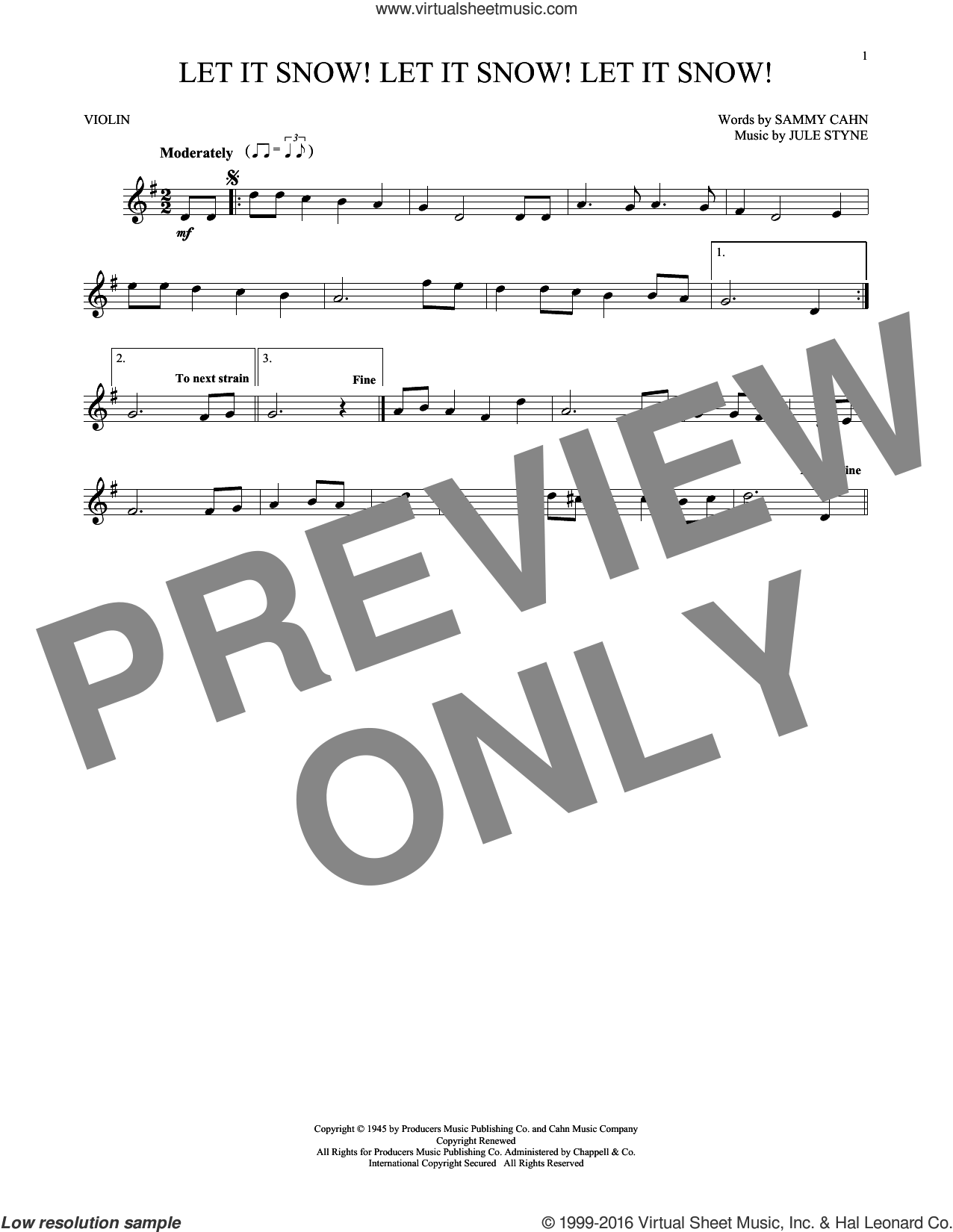 Let It Snow! Let It Snow! Let It Snow! sheet music for violin solo by Sammy Cahn and Jule Styne. Score Image Preview.