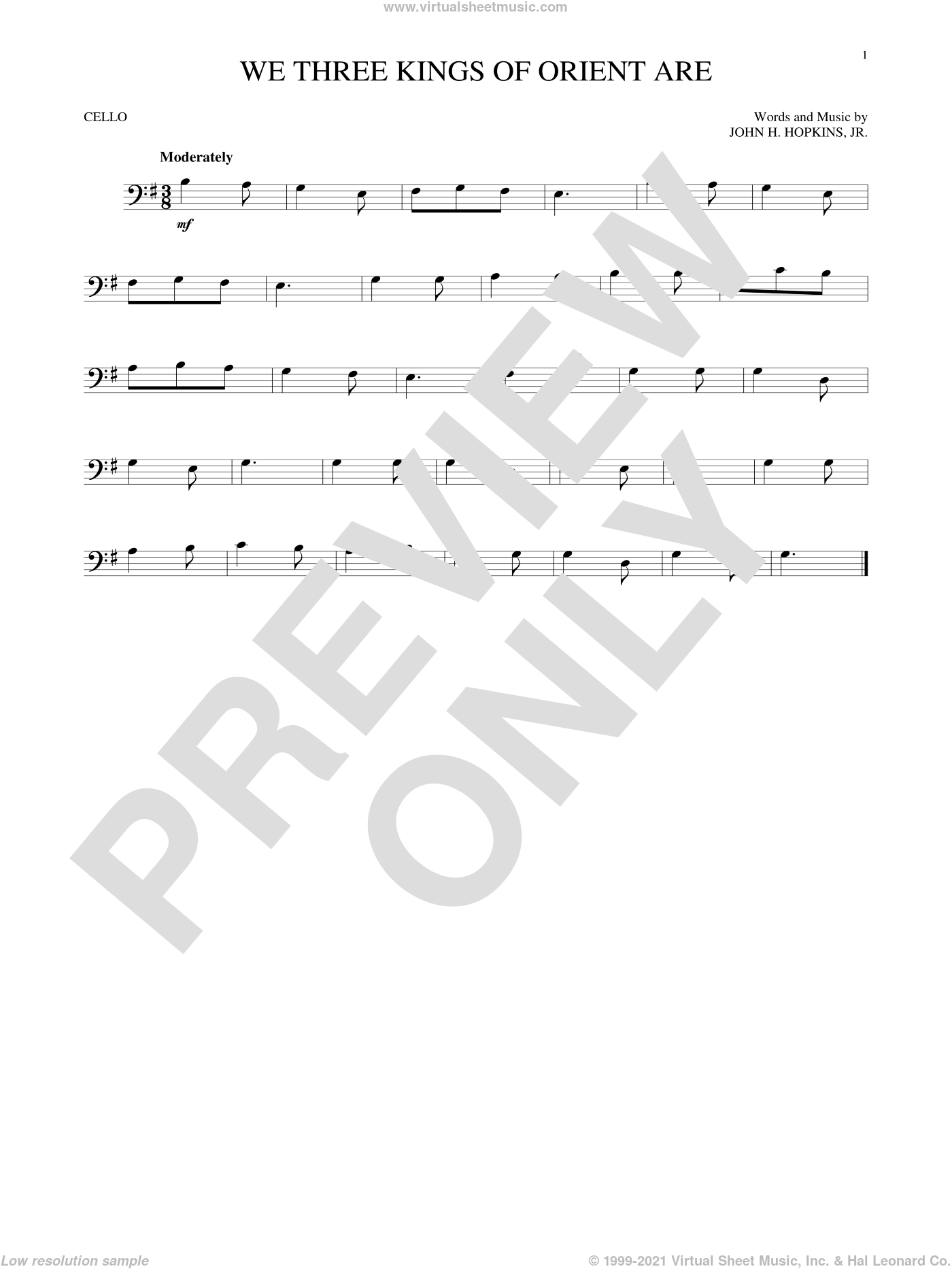 We Three Kings Of Orient Are sheet music for cello solo by John H. Hopkins, Jr., intermediate. Score Image Preview.