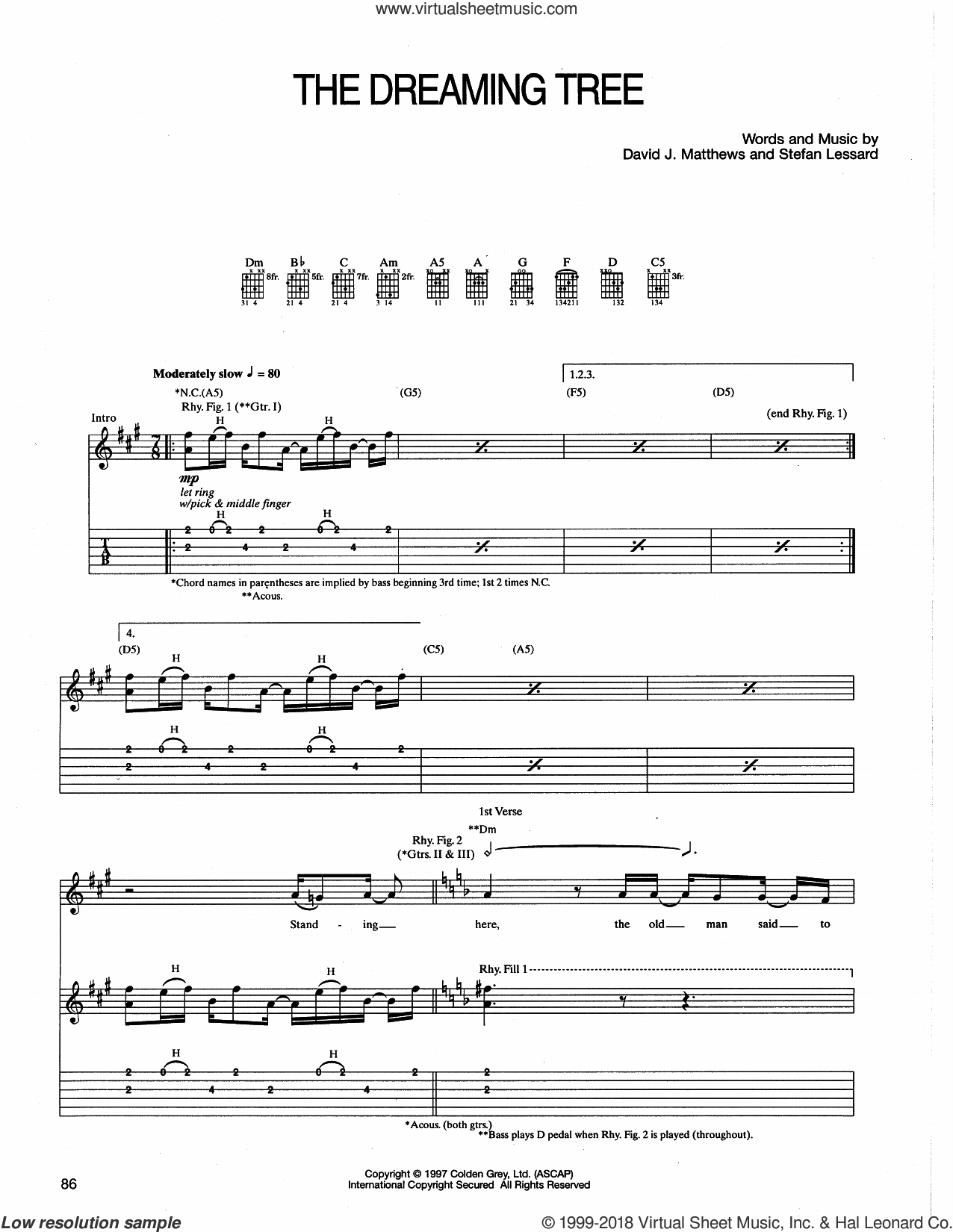 The Dreaming Tree sheet music for guitar (tablature) by Dave Matthews Band and Stefan Lessard, intermediate. Score Image Preview.