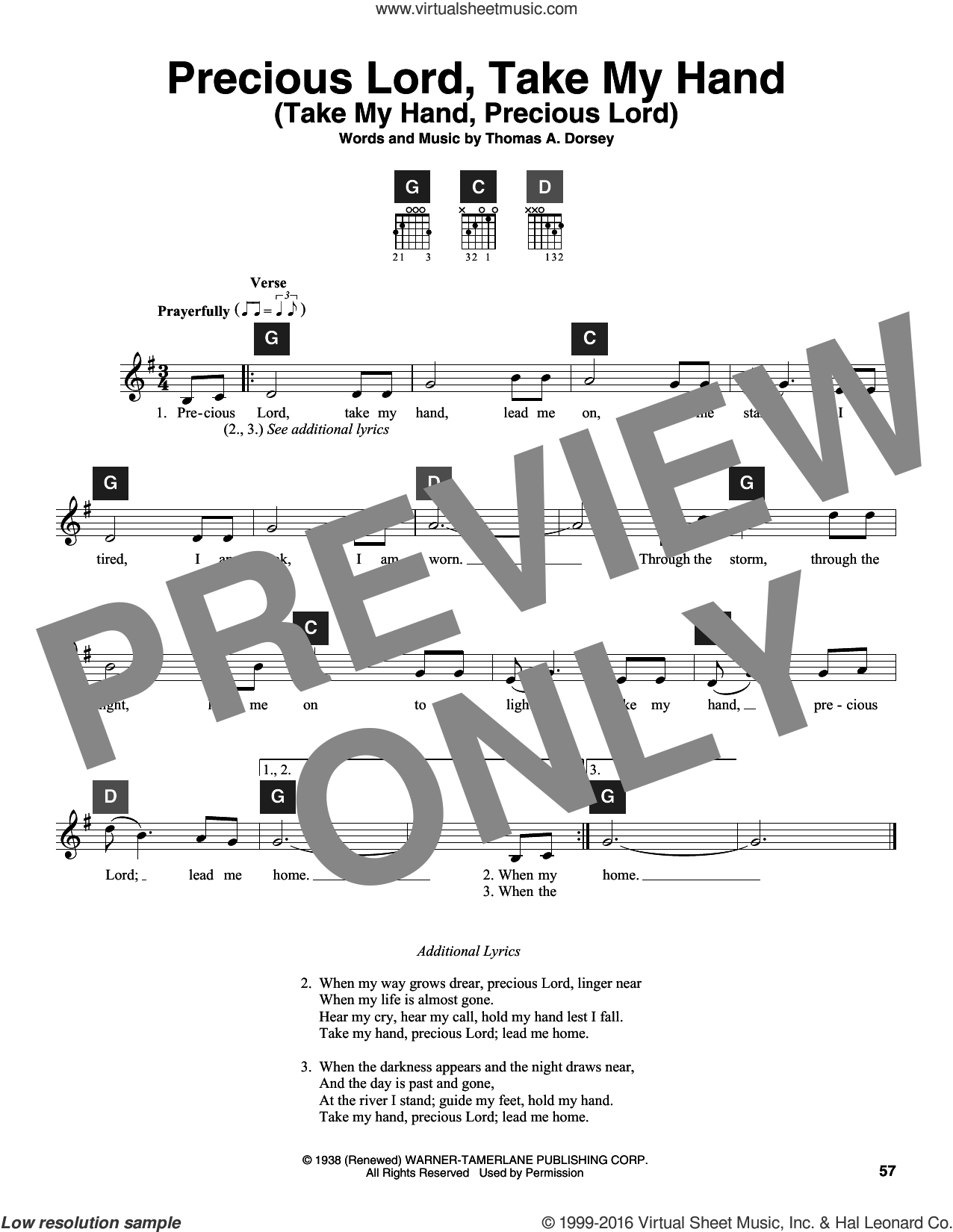 Precious Lord, Take My Hand (Take My Hand, Precious Lord) sheet music for guitar solo (ChordBuddy system) by Tommy Dorsey and Travis Perry, intermediate guitar (ChordBuddy system). Score Image Preview.