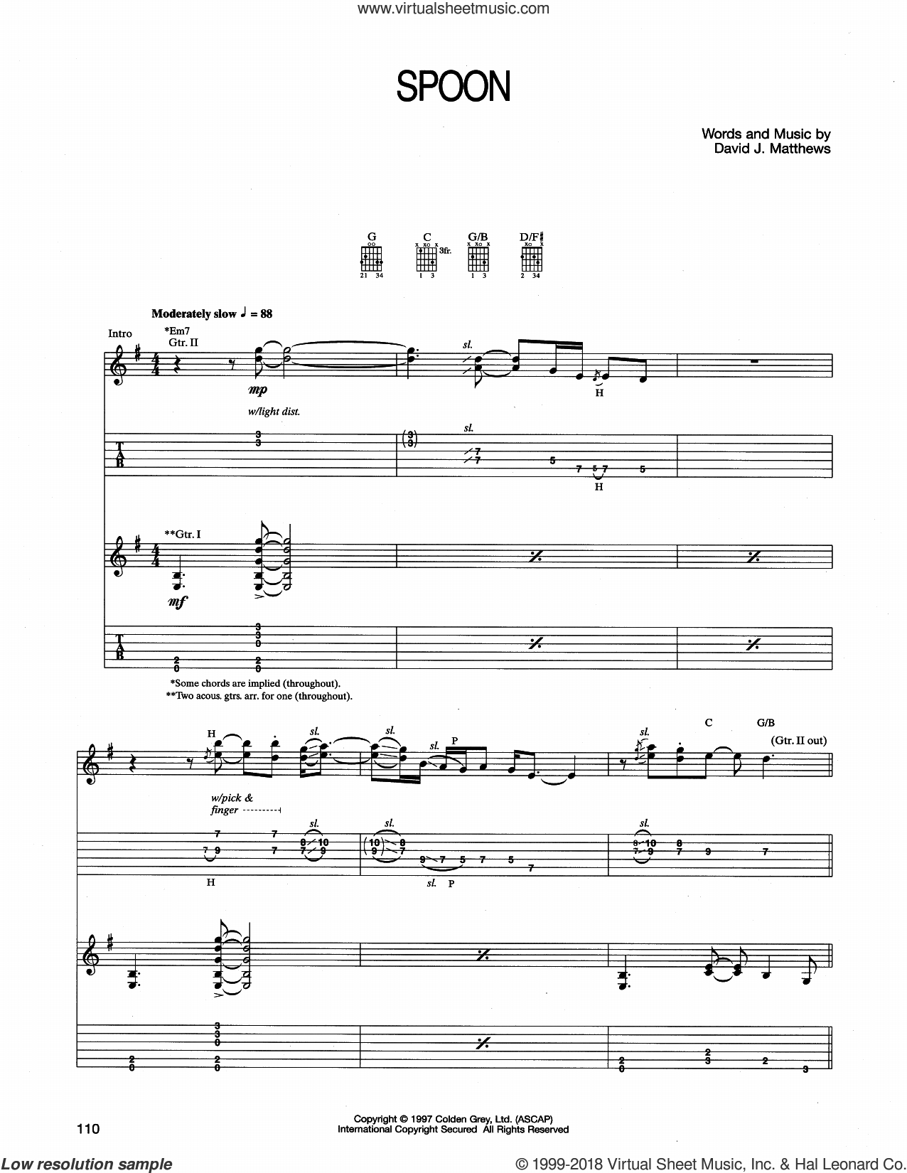 Spoon sheet music for guitar (tablature) by Dave Matthews Band. Score Image Preview.