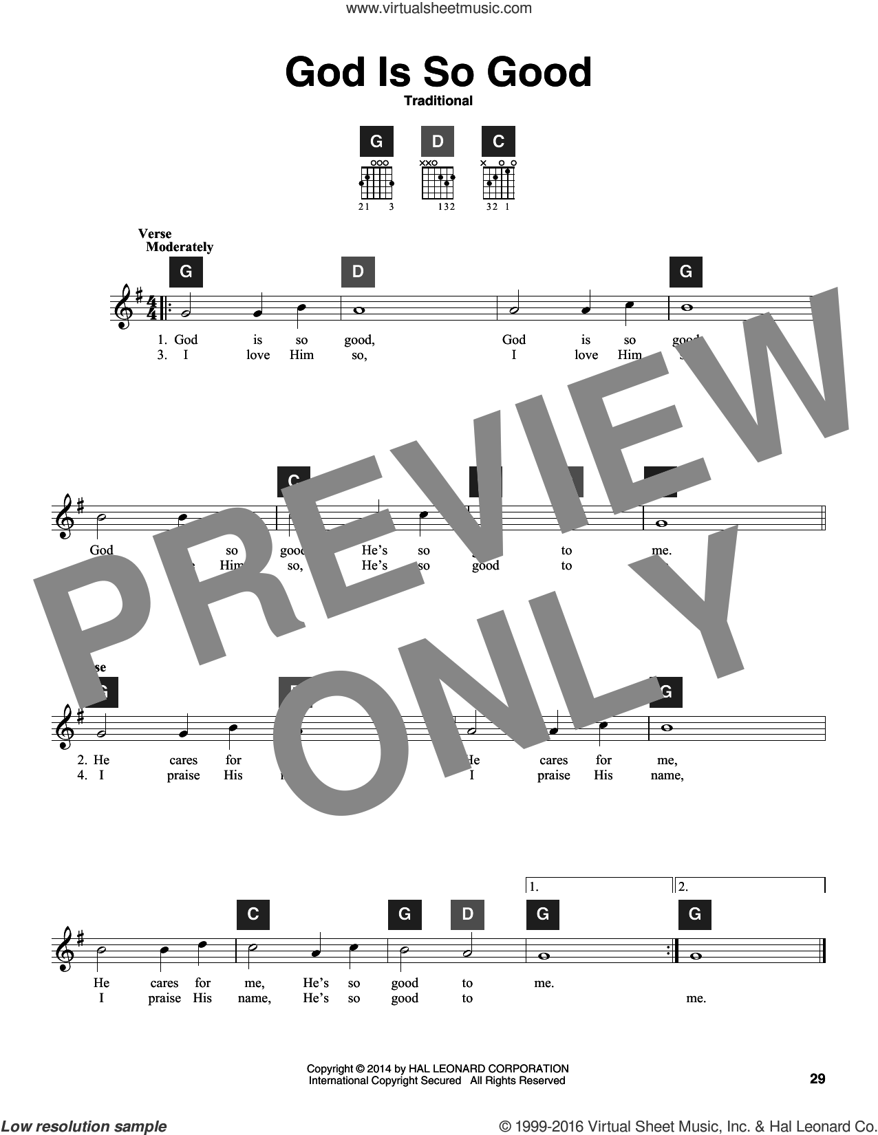 God Is So Good sheet music for guitar solo (ChordBuddy system). Score Image Preview.