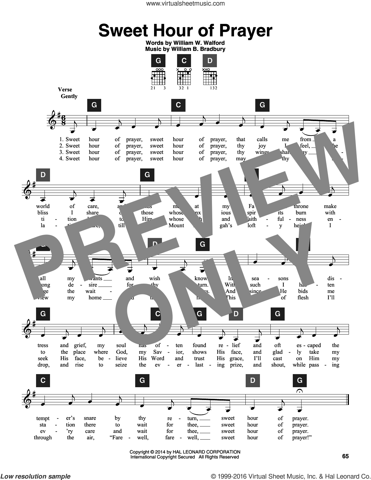 Sweet Hour Of Prayer sheet music for guitar solo (ChordBuddy system) by William B. Bradbury, Travis Perry and William W. Walford, intermediate guitar (ChordBuddy system). Score Image Preview.