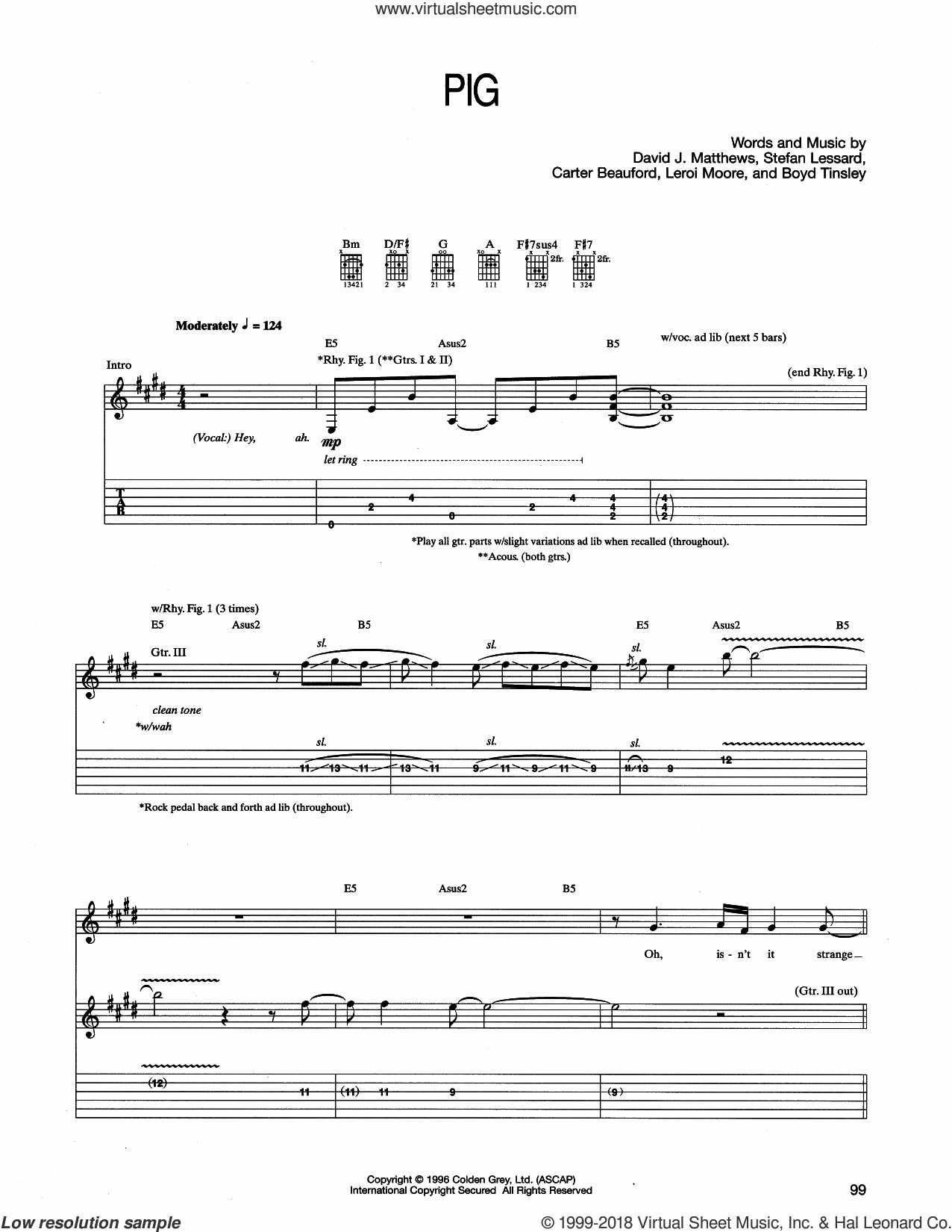 Pig sheet music for guitar (tablature) by Dave Matthews Band, intermediate. Score Image Preview.