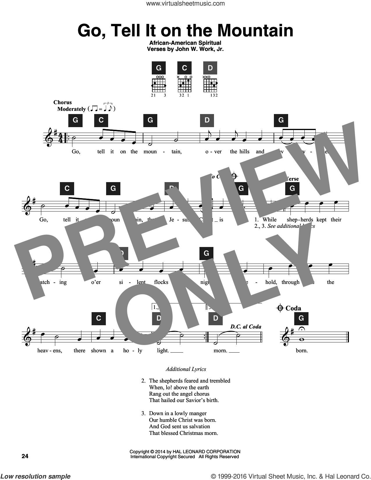 Go, Tell It On The Mountain sheet music for guitar solo (ChordBuddy system) by John W. Work, Jr. and Miscellaneous. Score Image Preview.