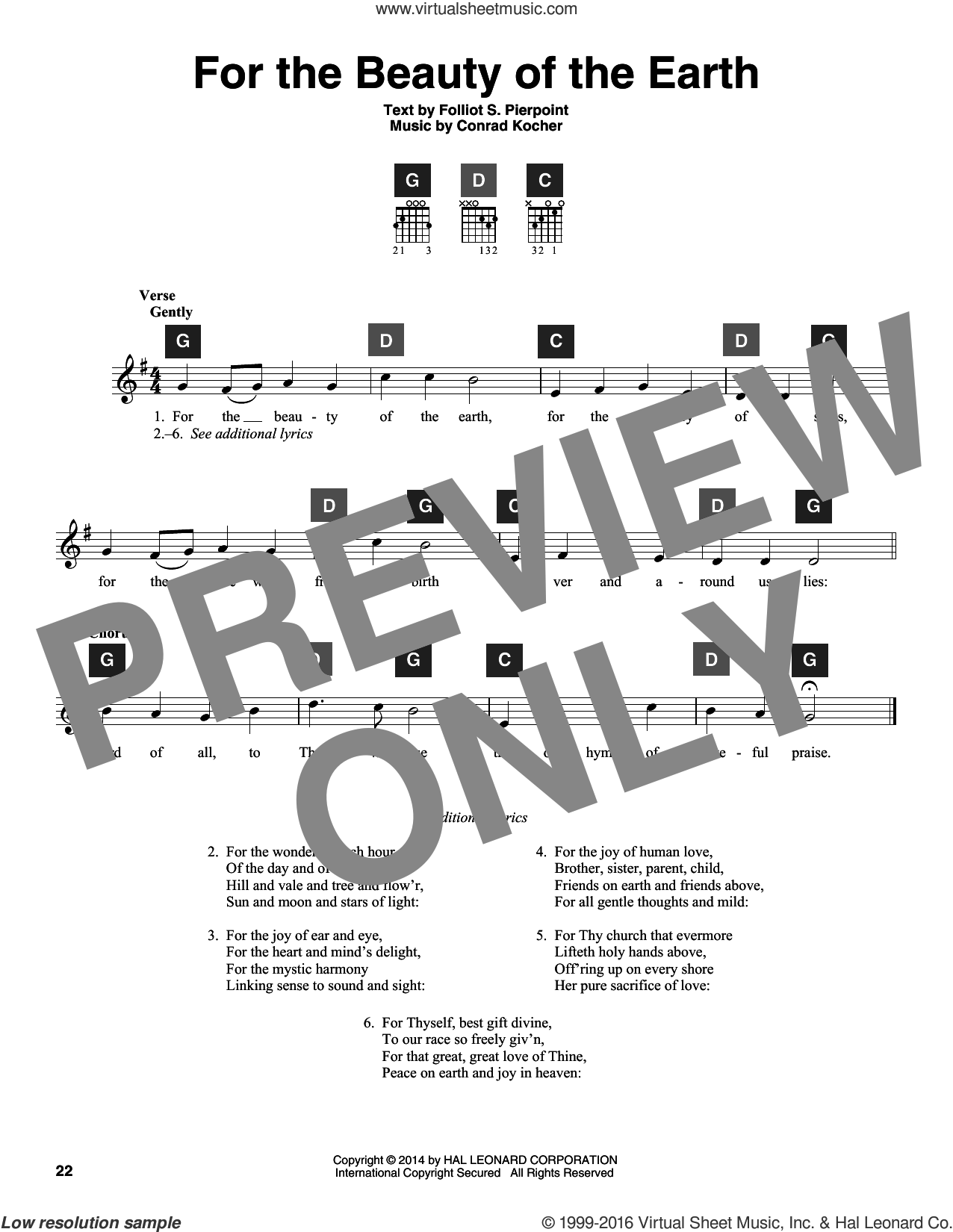 For The Beauty Of The Earth sheet music for guitar solo (ChordBuddy system) by Folliot S. Pierpoint and Conrad Kocher. Score Image Preview.