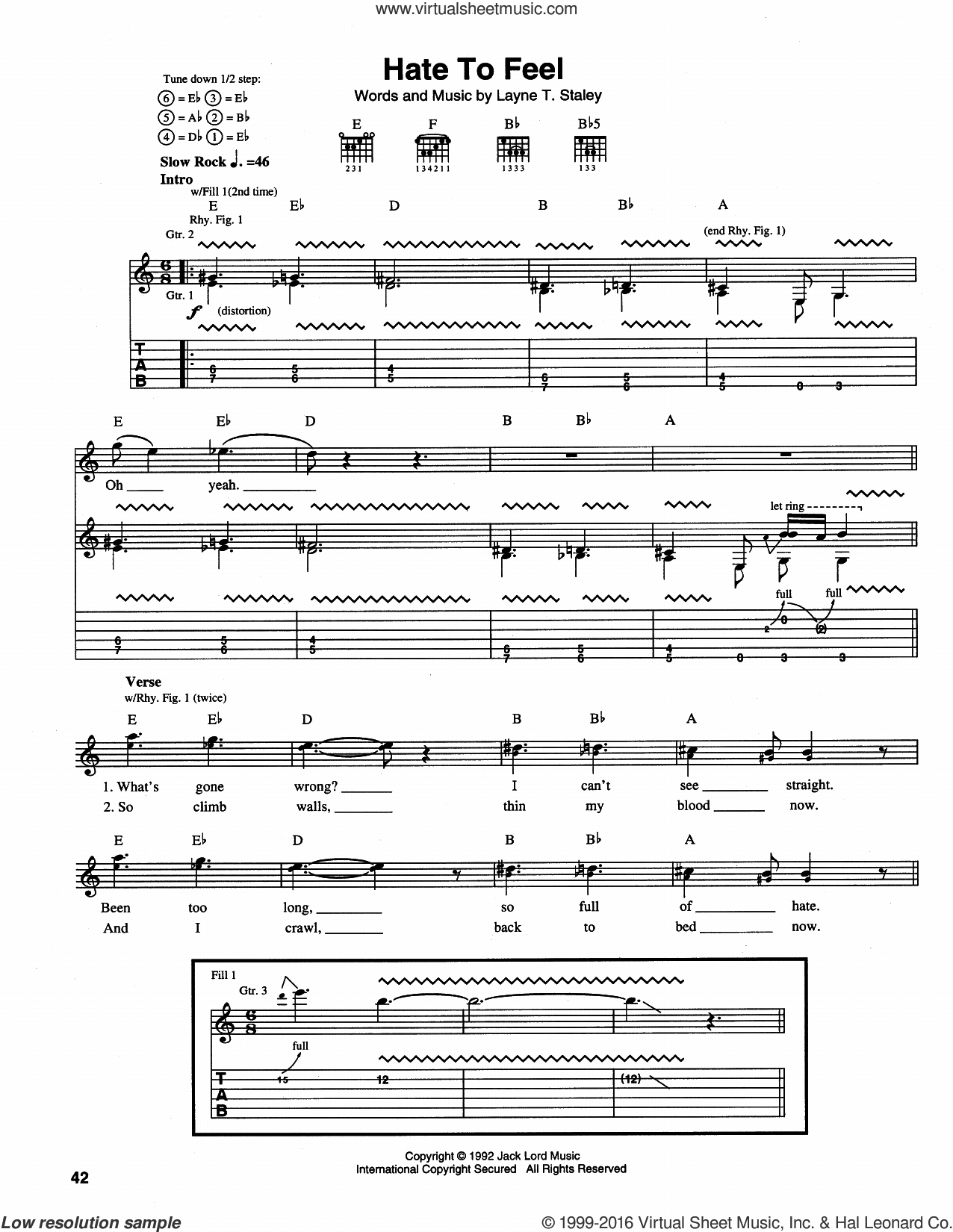 Hate To Feel sheet music for guitar (tablature) by Alice In Chains. Score Image Preview.