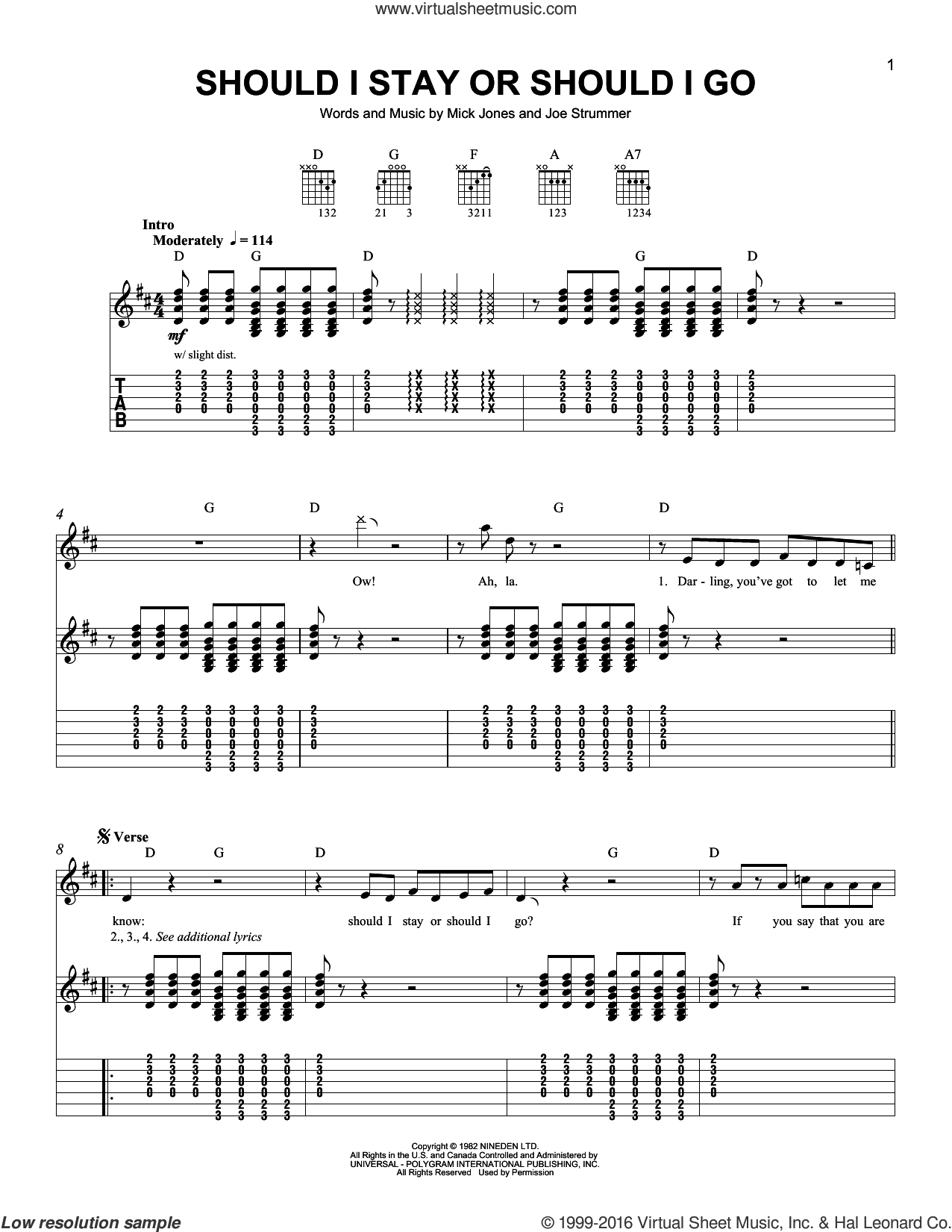 Should I Stay Or Should I Go sheet music for guitar solo (easy tablature) by Mick Jones, The Clash and Joe Strummer. Score Image Preview.