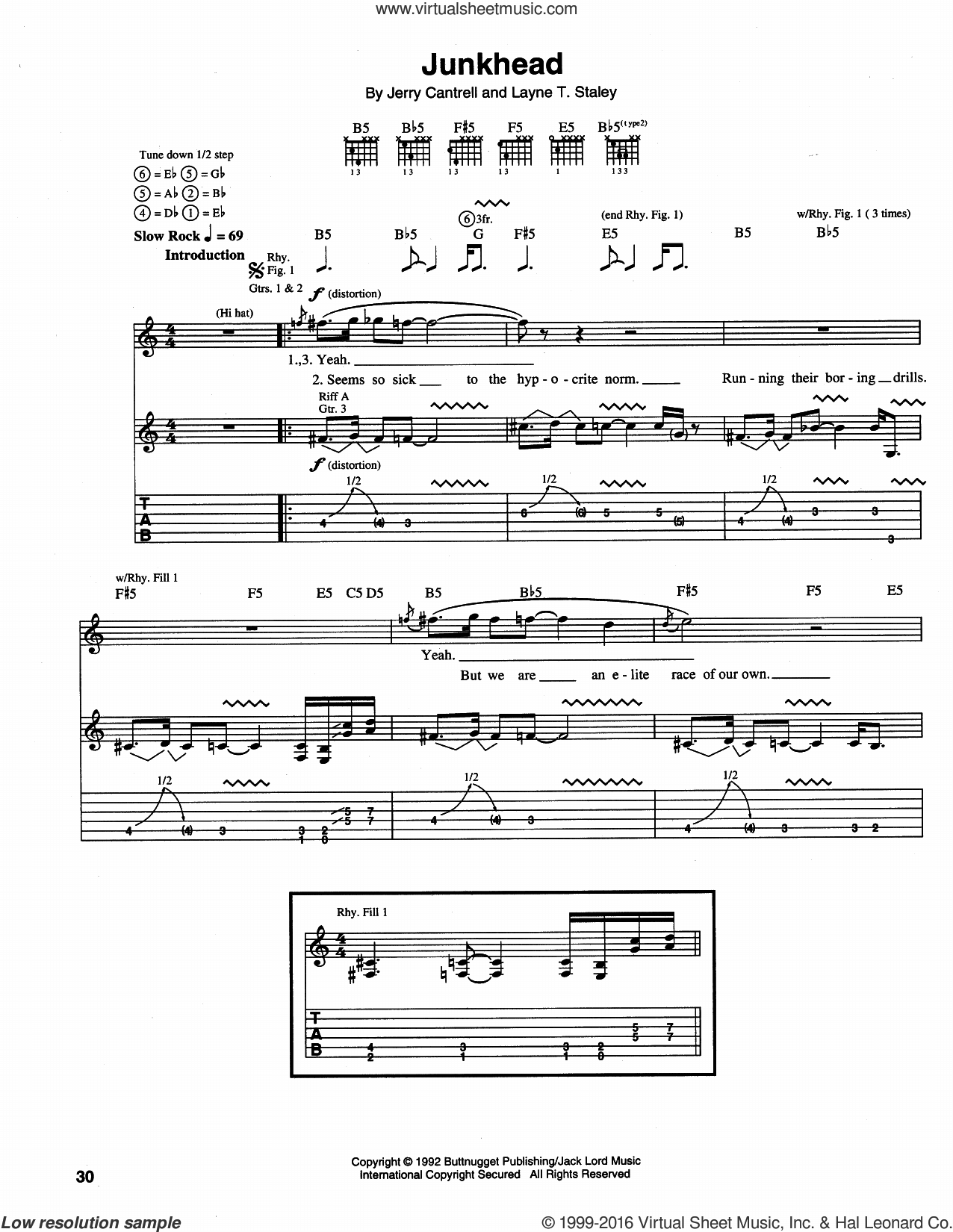 Junkhead sheet music for guitar (tablature) by Alice In Chains. Score Image Preview.