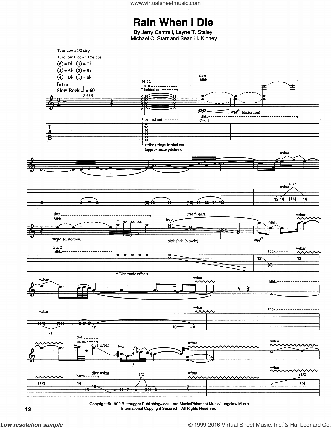 Rain When I Die sheet music for guitar (tablature) by Alice In Chains. Score Image Preview.
