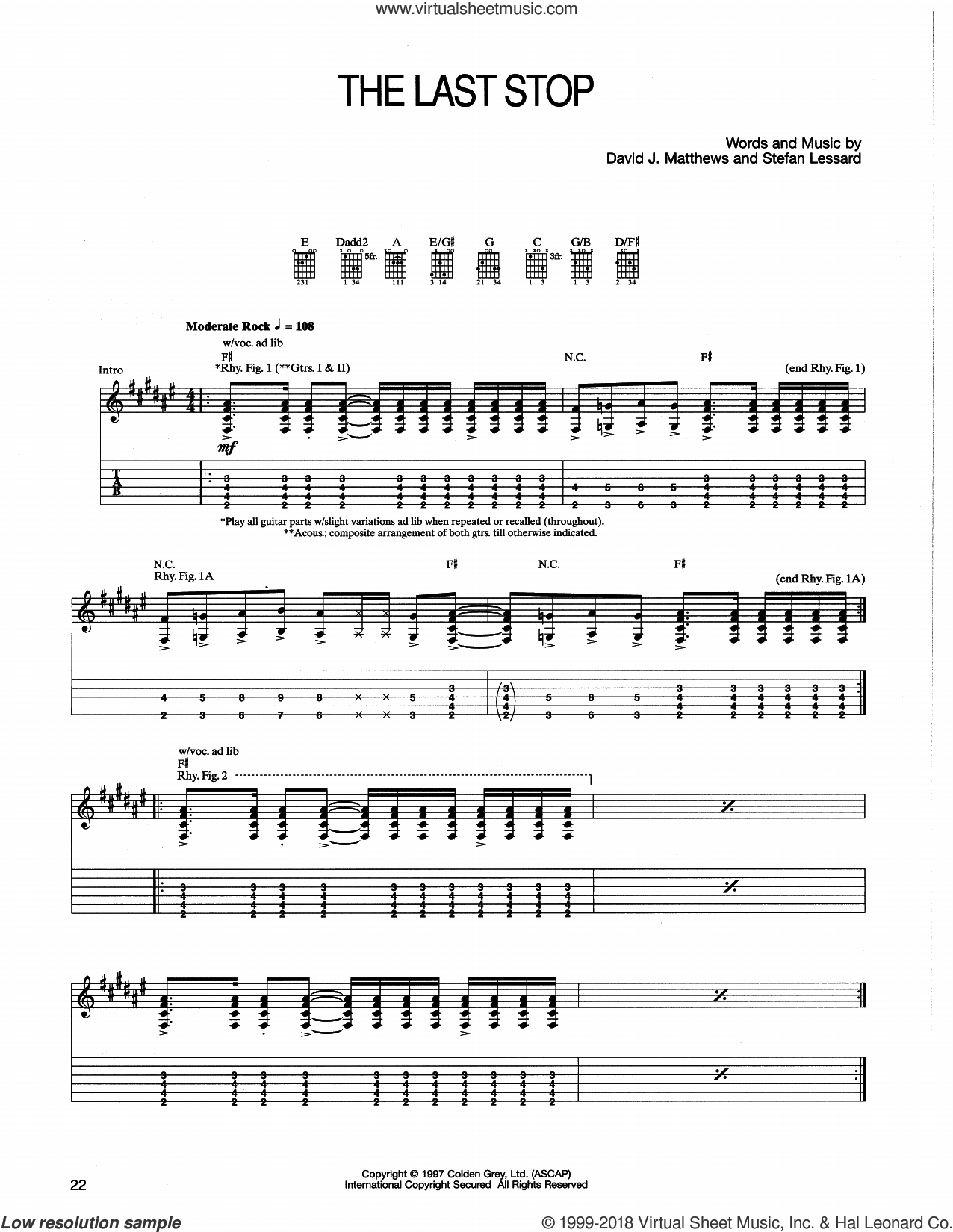 The Last Stop sheet music for guitar (tablature) by Dave Matthews Band and Stefan Lessard, intermediate