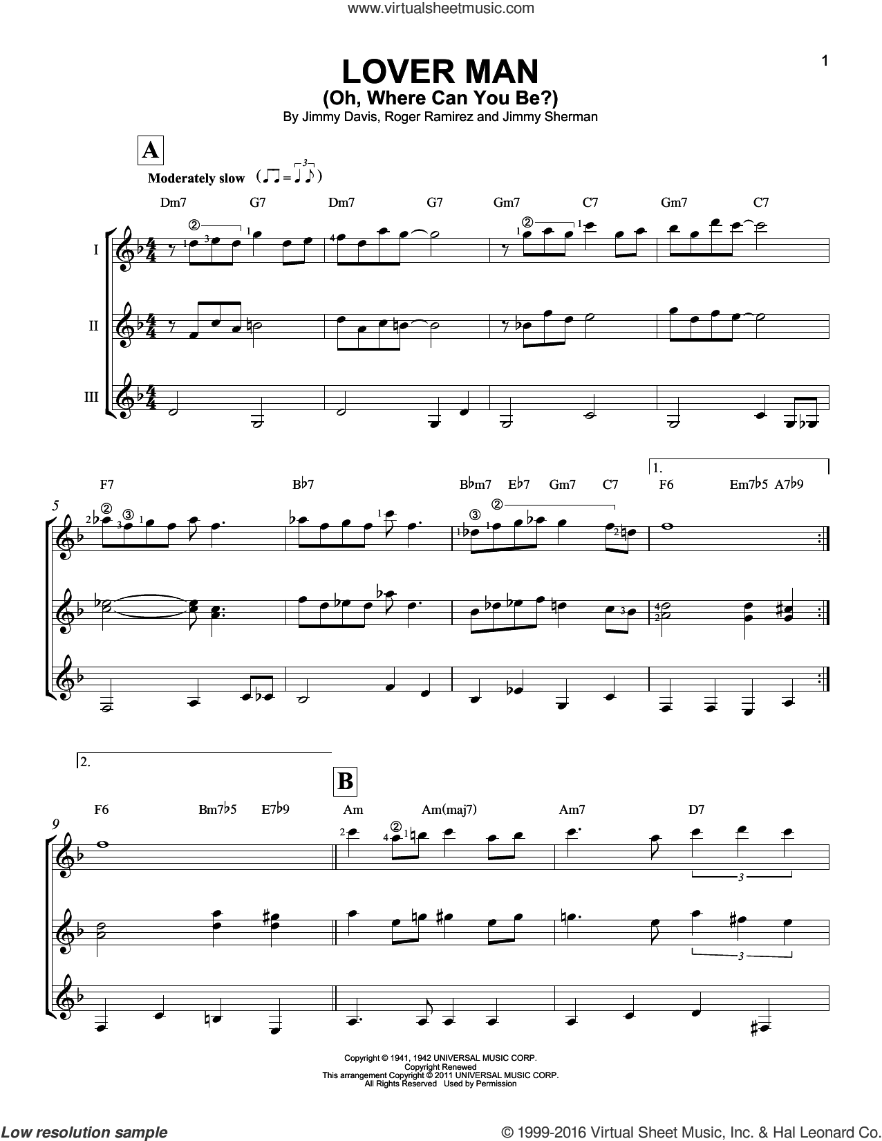 Lover Man (Oh, Where Can You Be?) sheet music for guitar ensemble by Billie Holiday, Jimmie Davis, Jimmy Sherman and Roger Ramirez, intermediate skill level