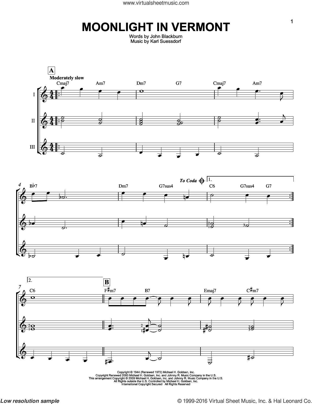 Moonlight In Vermont sheet music for guitar ensemble by John Blackburn and Karl Suessdorf. Score Image Preview.