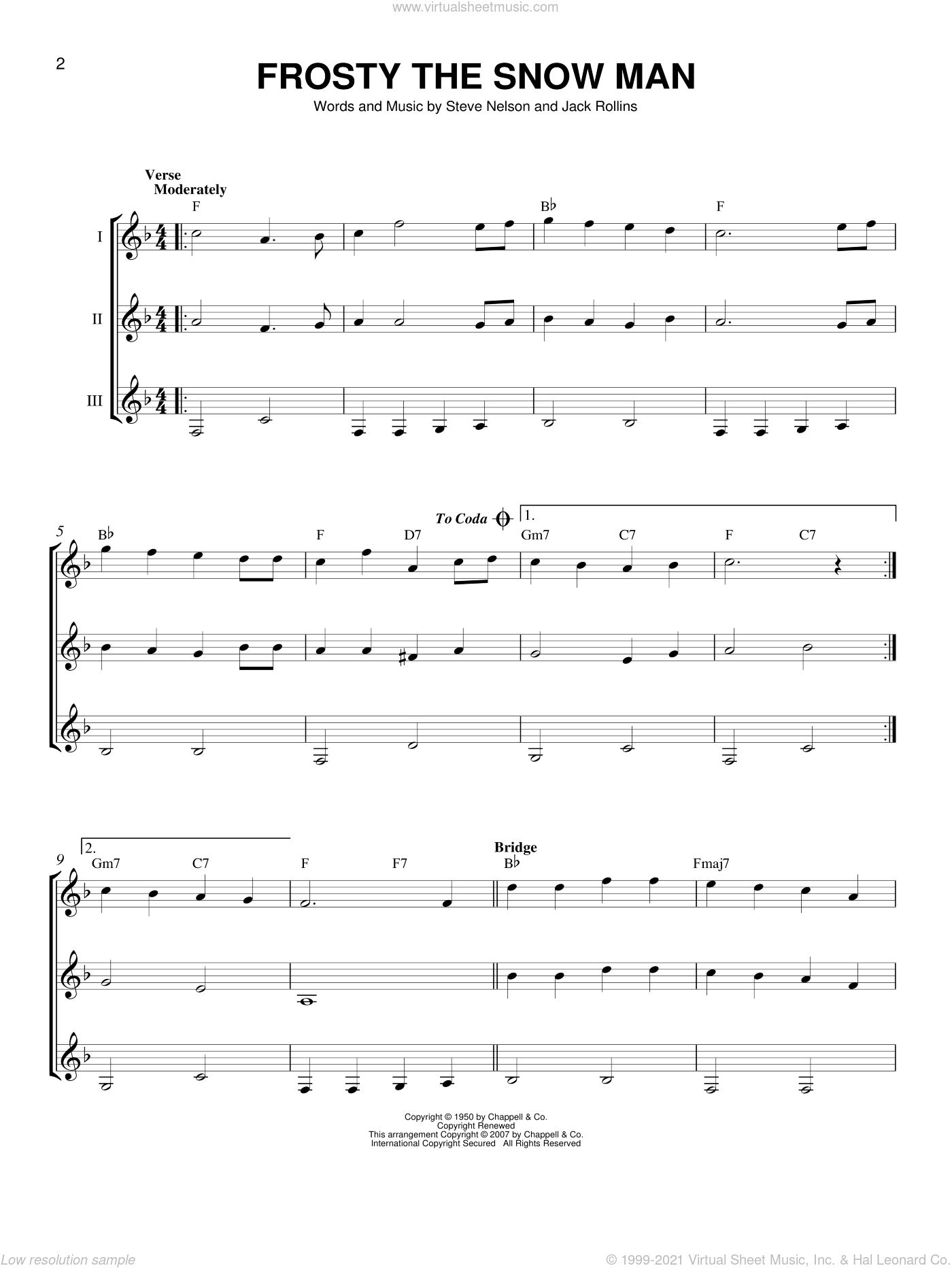 Frosty The Snow Man sheet music for guitar ensemble by Jack Rollins and Steve Nelson, intermediate skill level