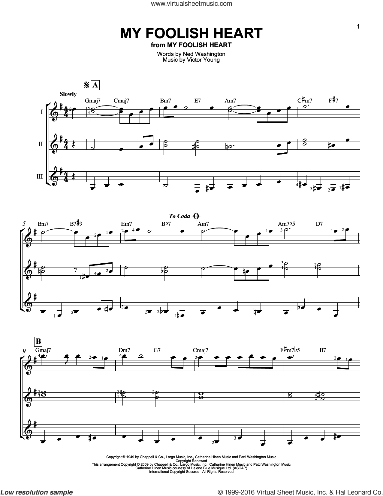 My Foolish Heart sheet music for guitar ensemble by Ned Washington, Demensions and Victor Young, intermediate skill level