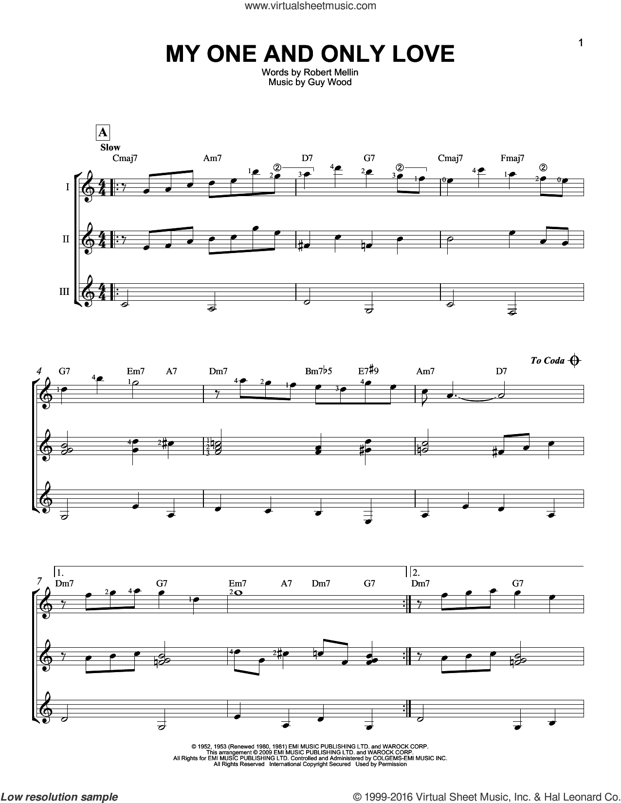 My One And Only Love sheet music for guitar ensemble by Guy Wood and Robert Mellin. Score Image Preview.