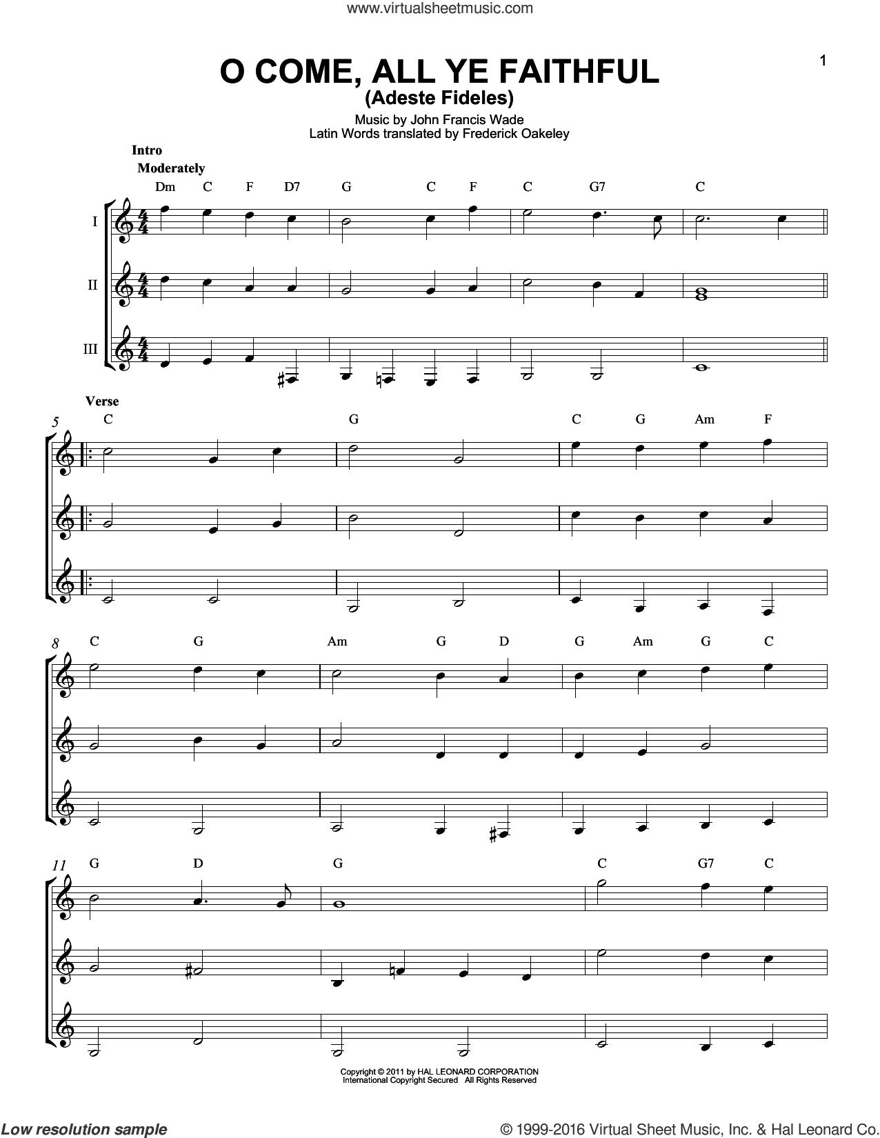 O Come, All Ye Faithful (Adeste Fideles) sheet music for guitar ensemble by John Francis Wade and Frederick Oakeley (English), intermediate skill level