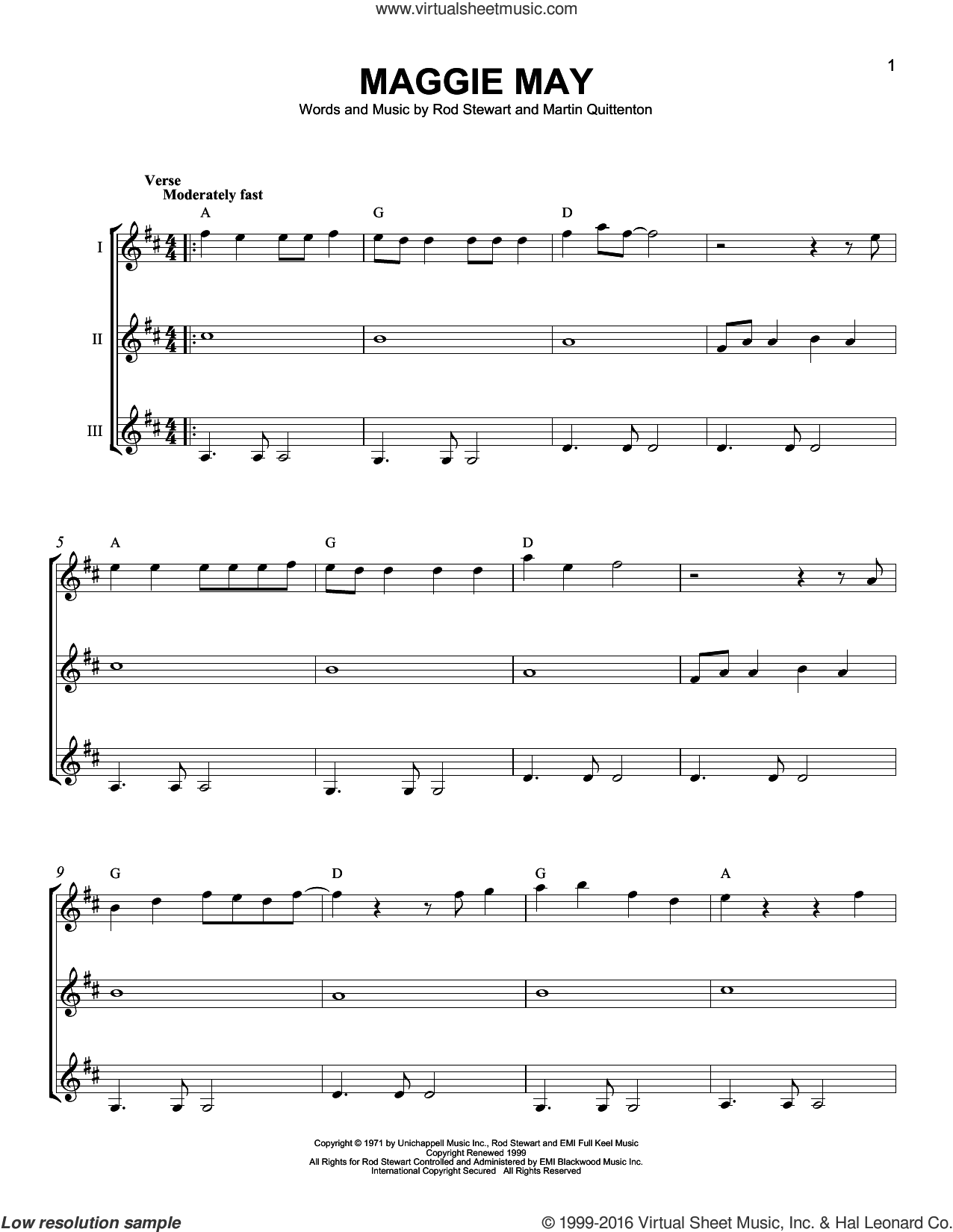 Maggie May sheet music for guitar ensemble by Rod Stewart and Martin Quittenton, intermediate. Score Image Preview.