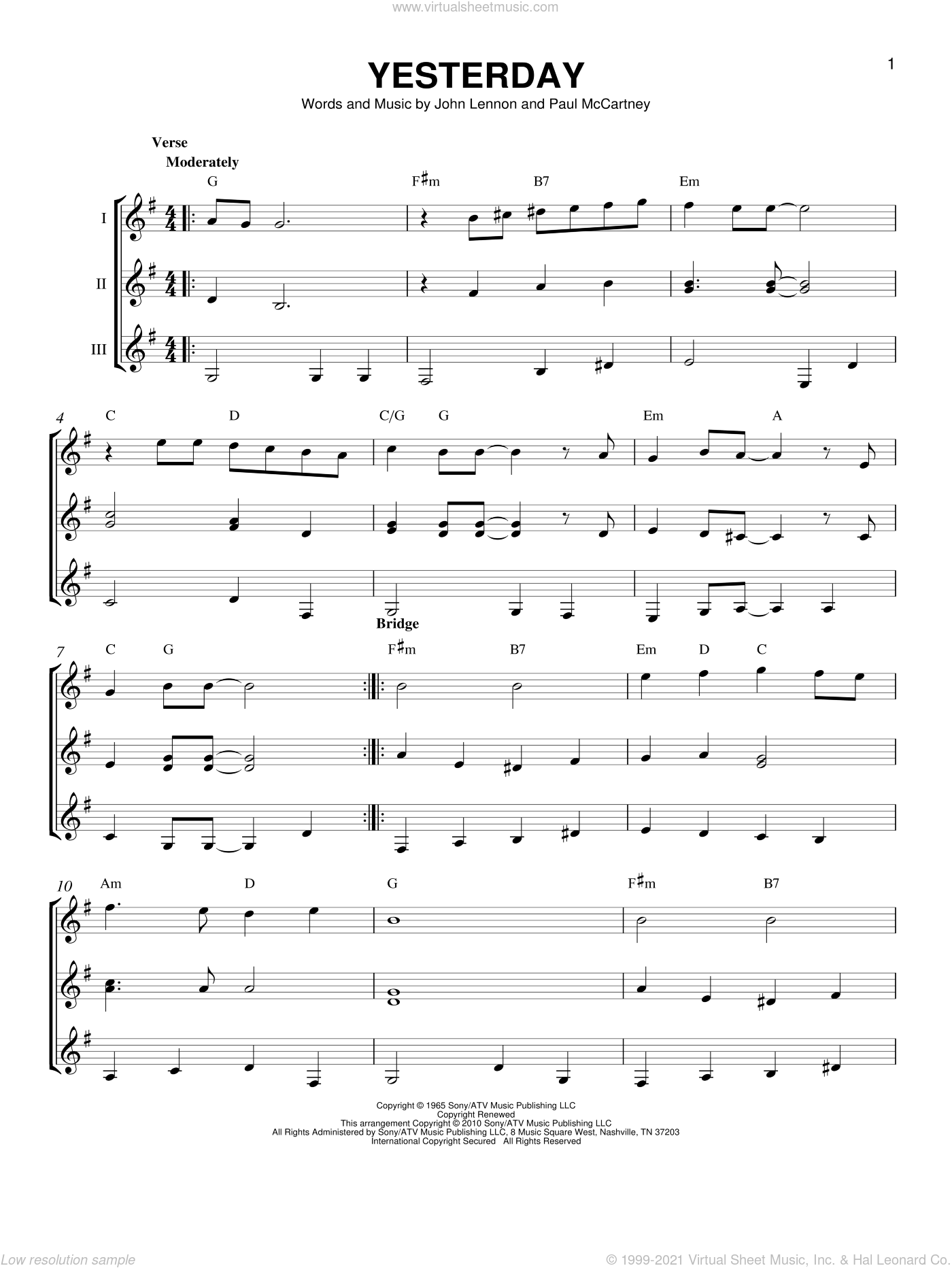 Yesterday sheet music for guitar ensemble by Paul McCartney, Boyz II Men, The Beatles and John Lennon. Score Image Preview.