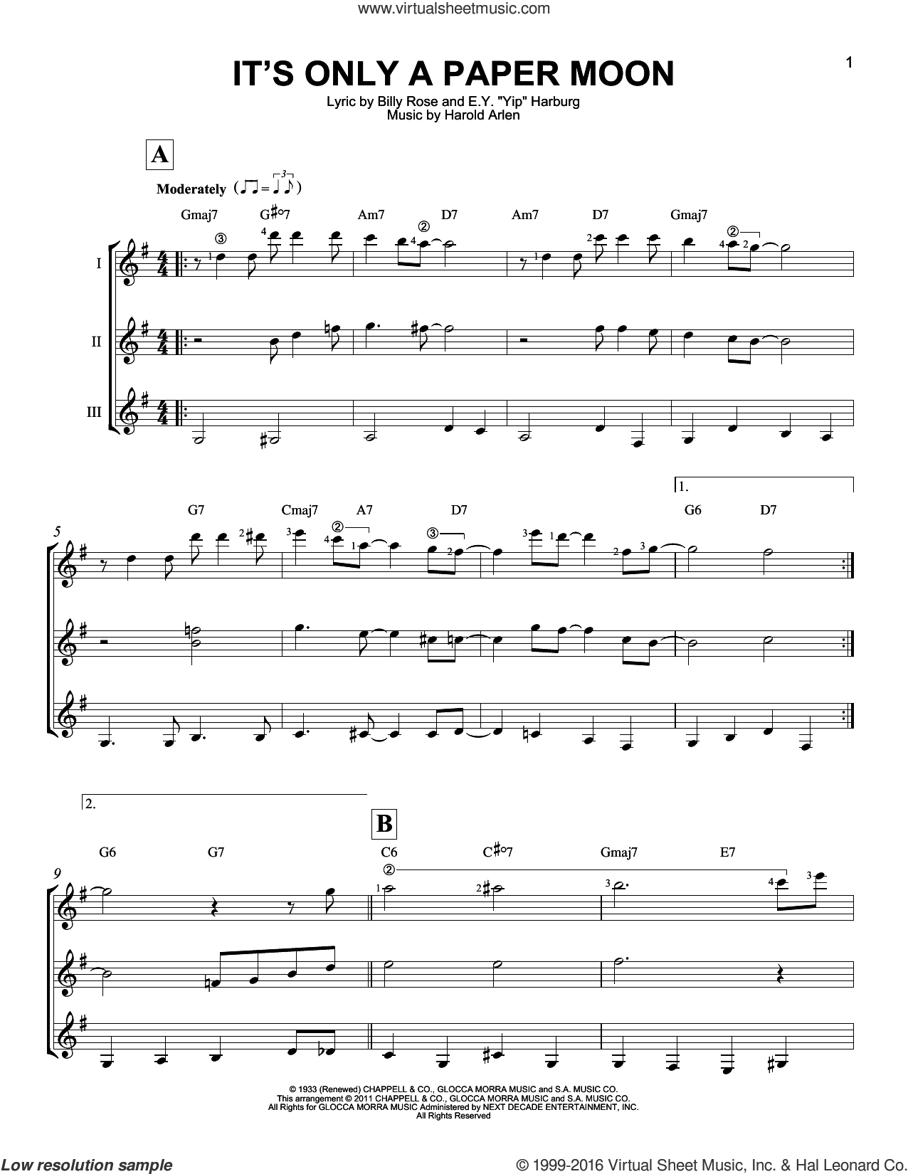 It's Only A Paper Moon sheet music for guitar ensemble by E.Y. Harburg, Billy Rose and Harold Arlen. Score Image Preview.