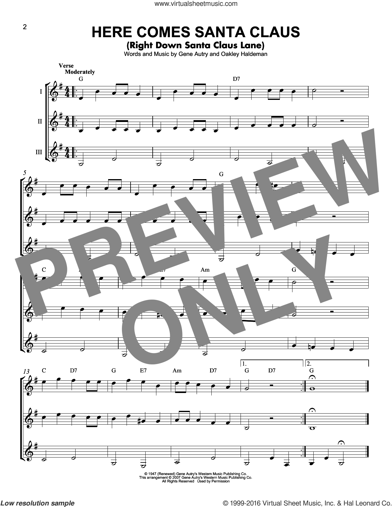 Here Comes Santa Claus (Right Down Santa Claus Lane) sheet music for guitar ensemble by Gene Autry, Carpenters and Oakley Haldeman, intermediate. Score Image Preview.