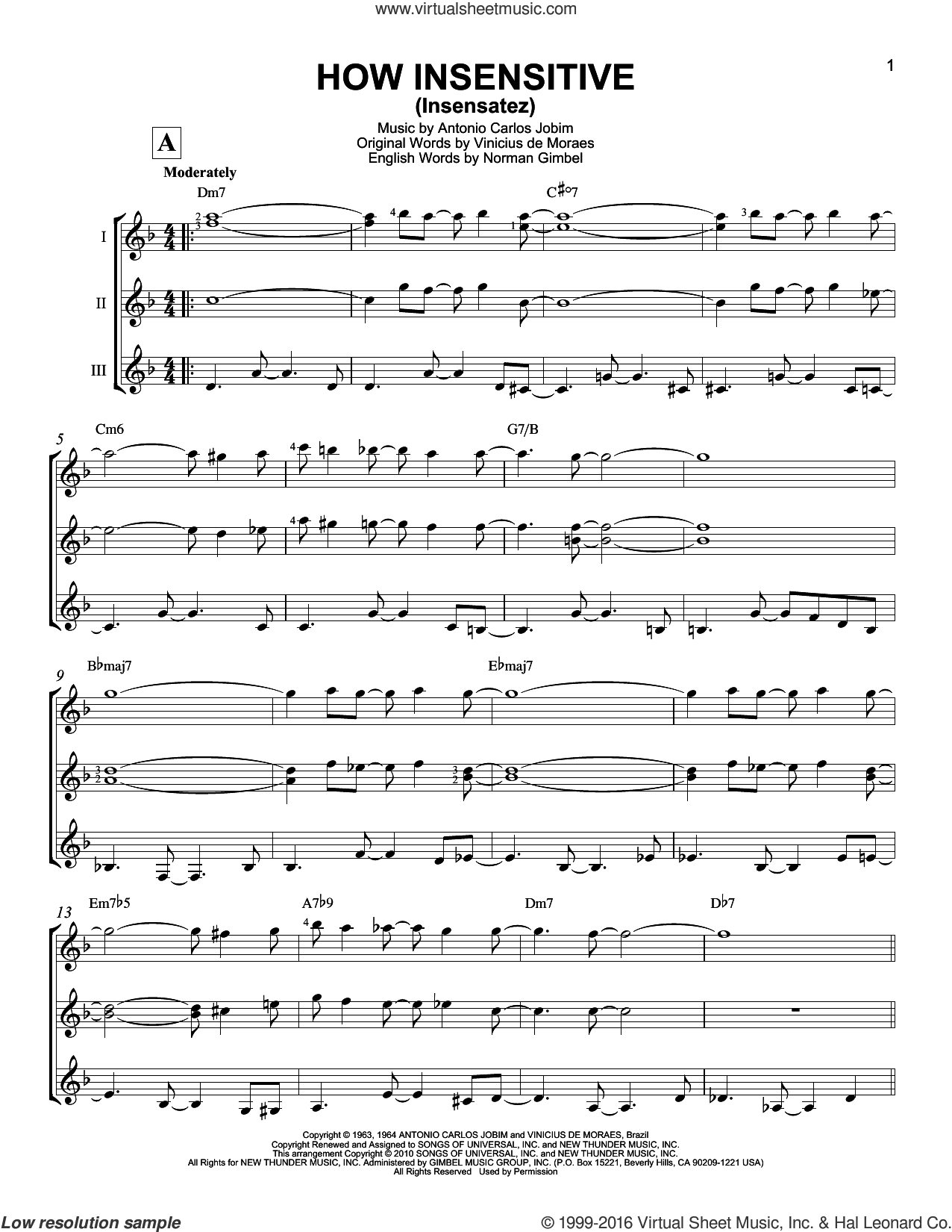How Insensitive (Insensatez) sheet music for guitar ensemble by Vinicius de Moraes, Antonio Carlos Jobim and Norman Gimbel. Score Image Preview.