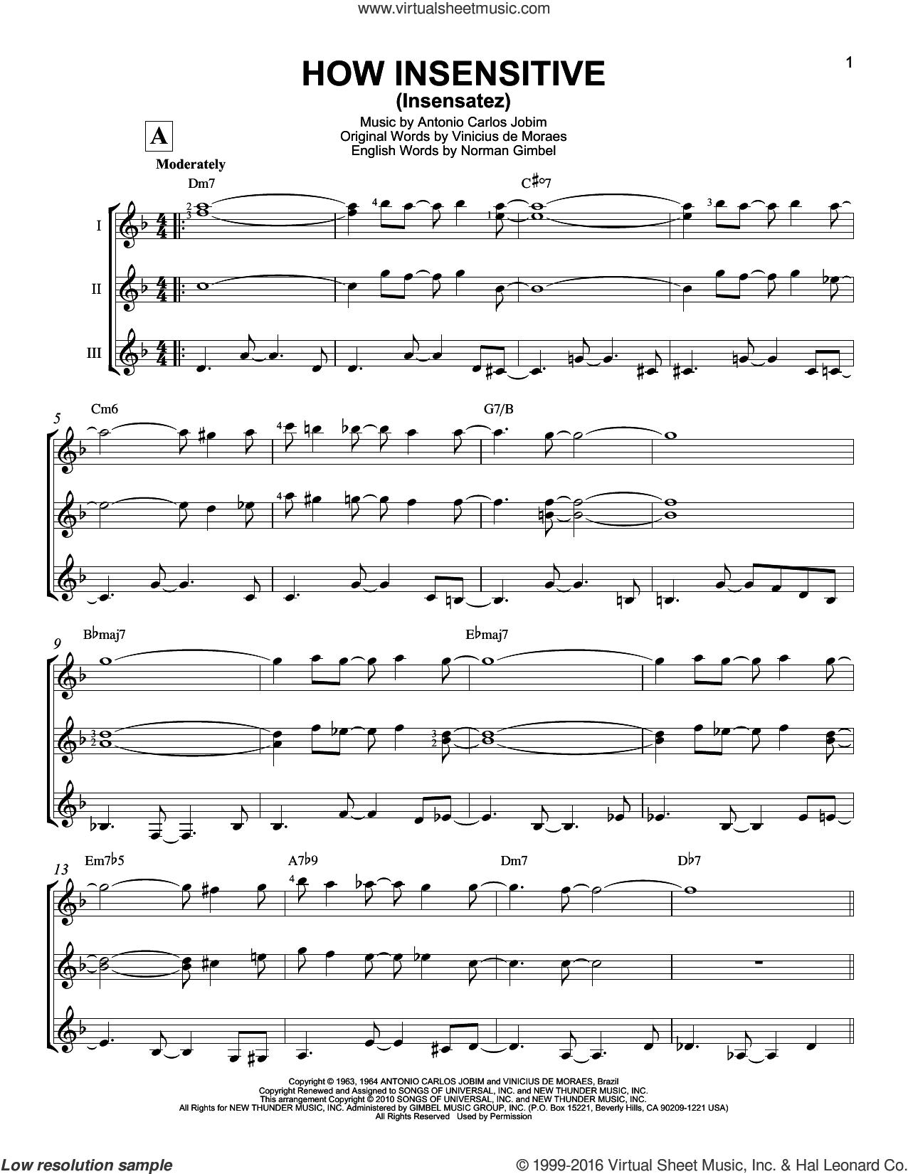 How Insensitive (Insensatez) sheet music for guitar ensemble by Antonio Carlos Jobim, Astrud Gilberto, Norman Gimbel and Vinicius de Moraes, intermediate skill level