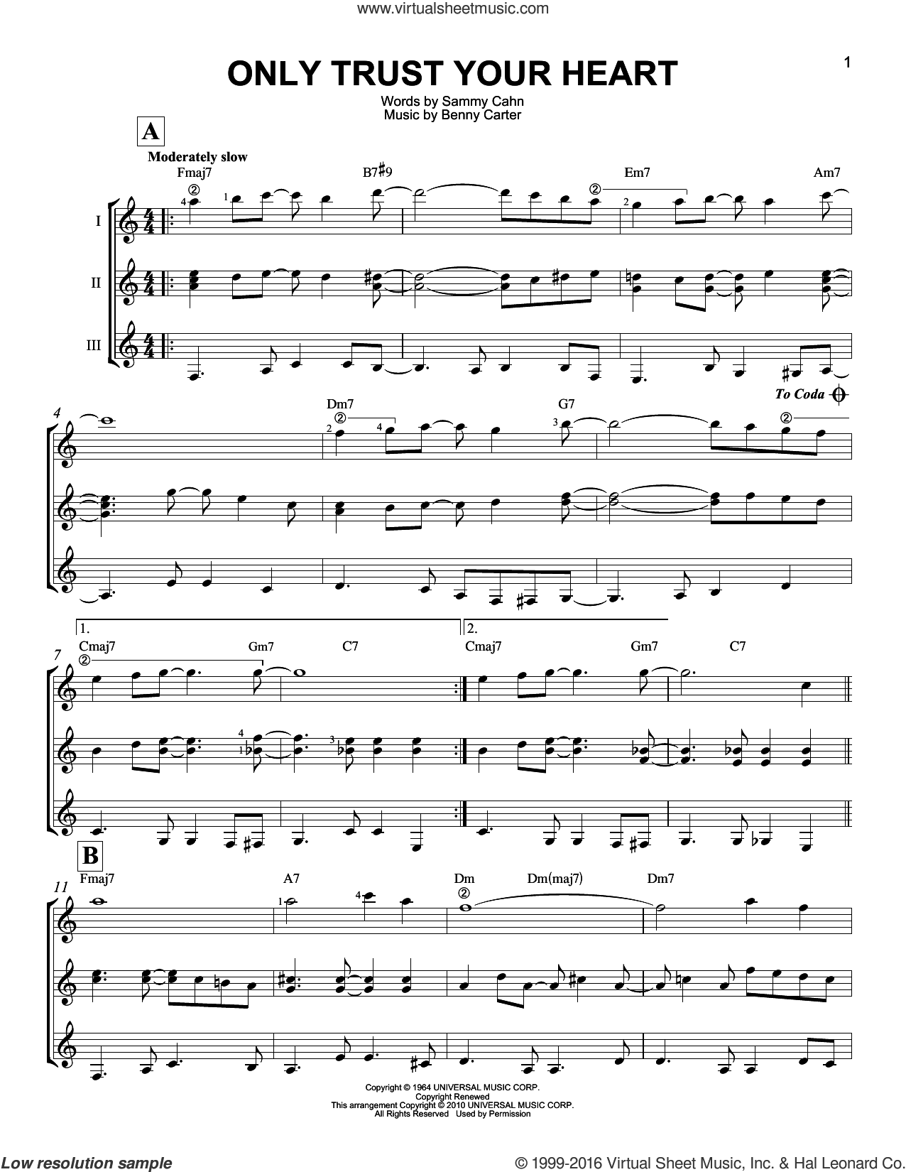 Only Trust Your Heart sheet music for guitar ensemble by Sammy Cahn and Benny Carter, intermediate skill level