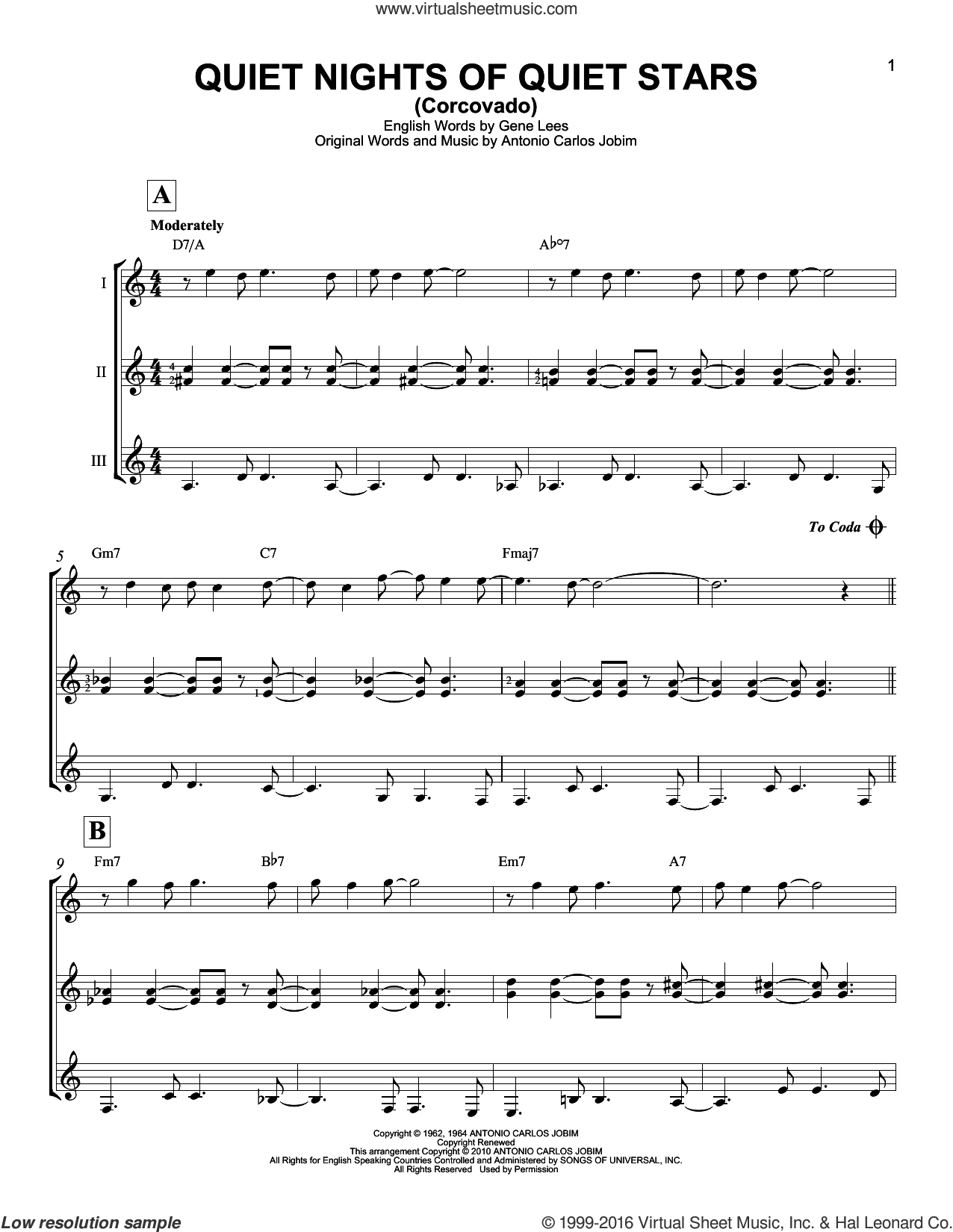 Quiet Nights Of Quiet Stars (Corcovado) sheet music for guitar ensemble by Eugene John Lees, Andy Williams and Antonio Carlos Jobim. Score Image Preview.