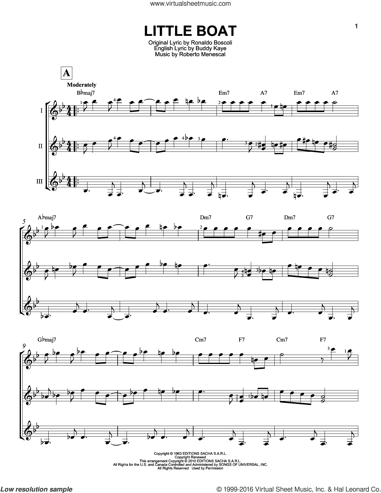 Little Boat (O Barquinho) sheet music for guitar ensemble by Buddy Kaye, Roberto Menescal and Ronaldo Boscoli. Score Image Preview.