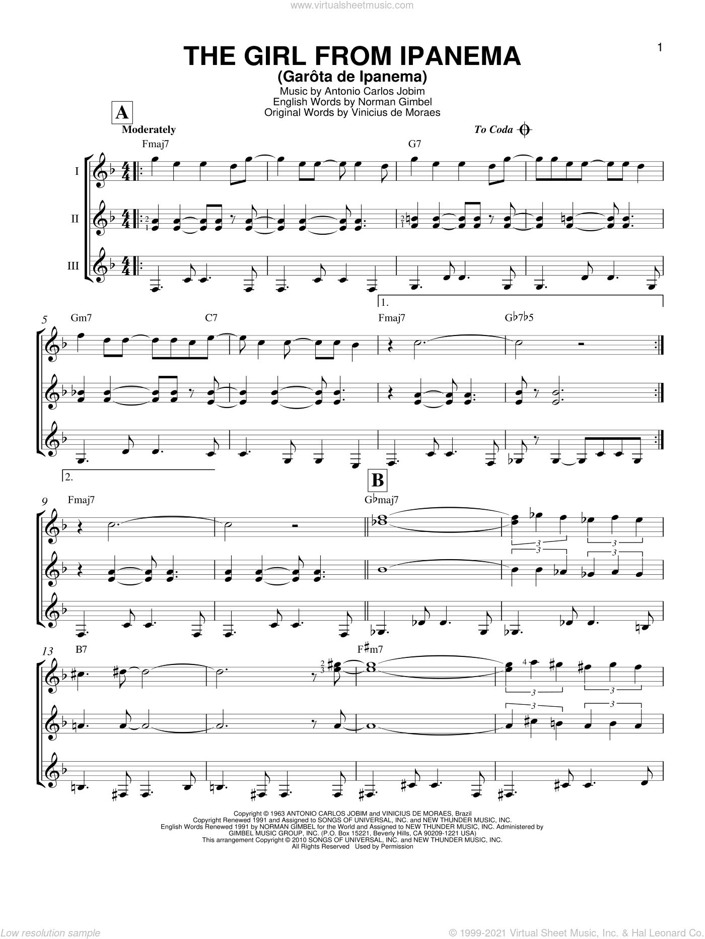 The Girl From Ipanema (Garota De Ipanema) sheet music for guitar ensemble by Antonio Carlos Jobim, Stan Getz & Astrud Gilberto, Norman Gimbel and Vinicius de Moraes, intermediate skill level