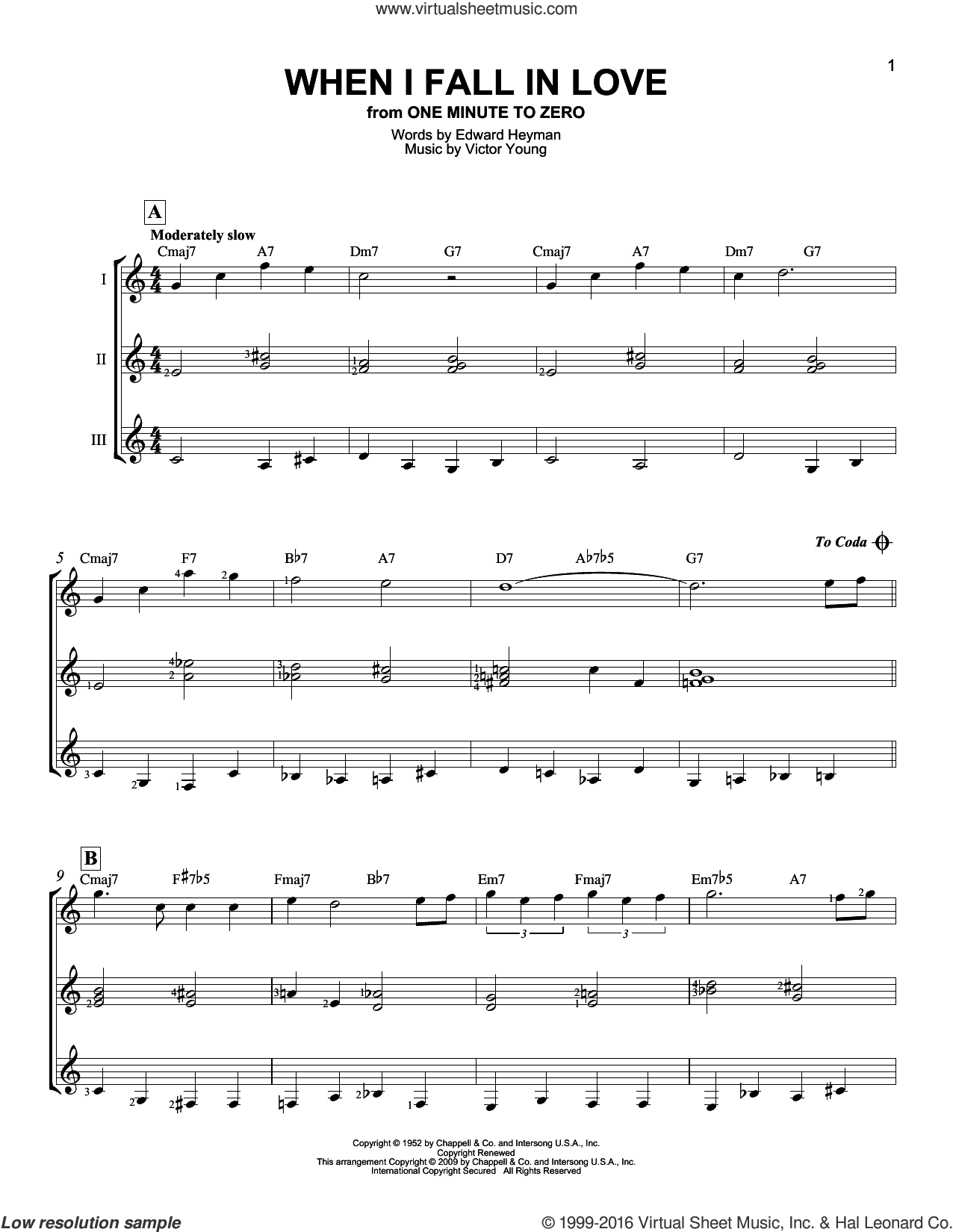 When I Fall In Love sheet music for guitar ensemble by Edward Heyman, Carpenters, The Lettermen and Victor Young. Score Image Preview.