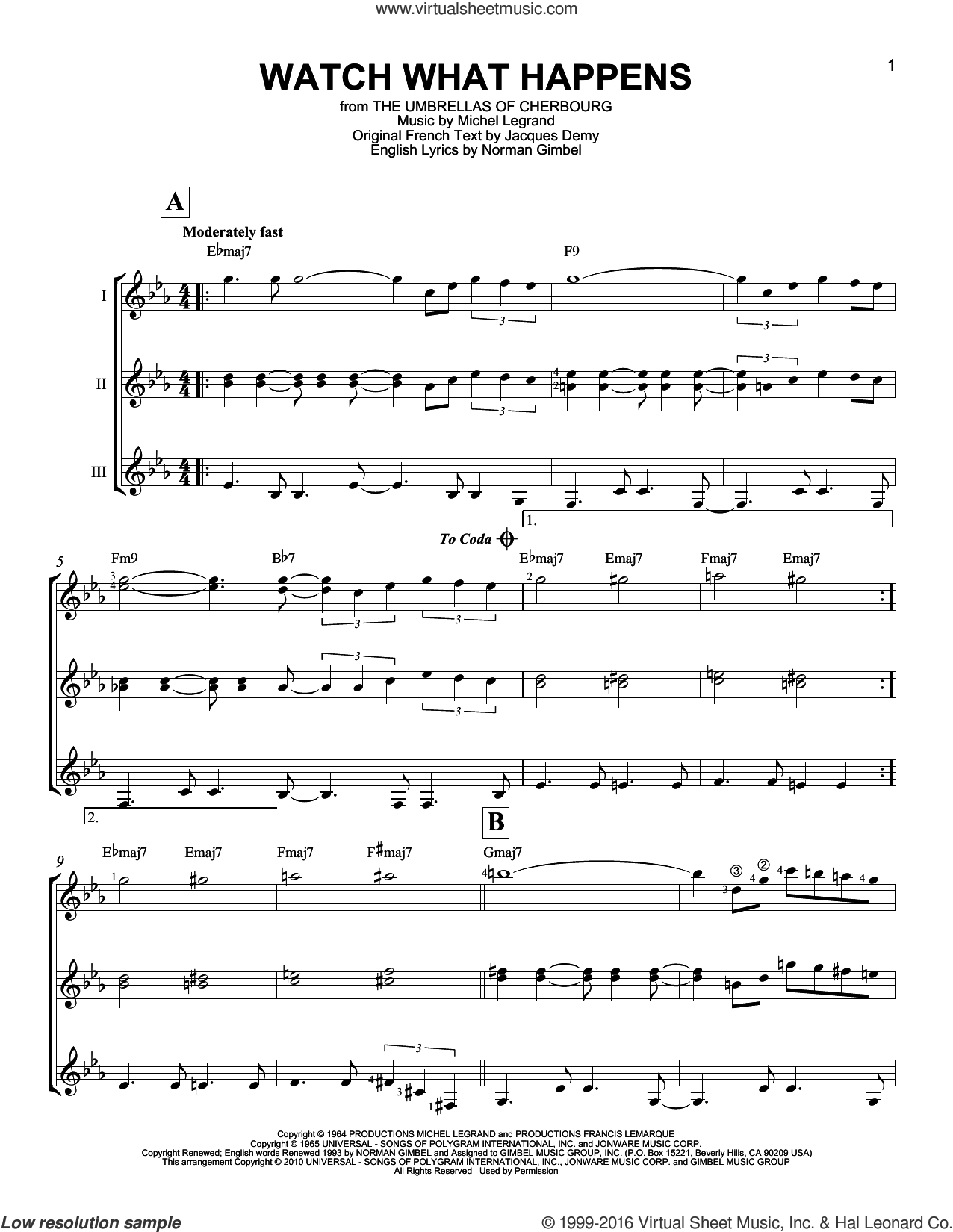 Watch What Happens sheet music for guitar ensemble by Michel Legrand and Norman Gimbel, intermediate guitar ensemble. Score Image Preview.