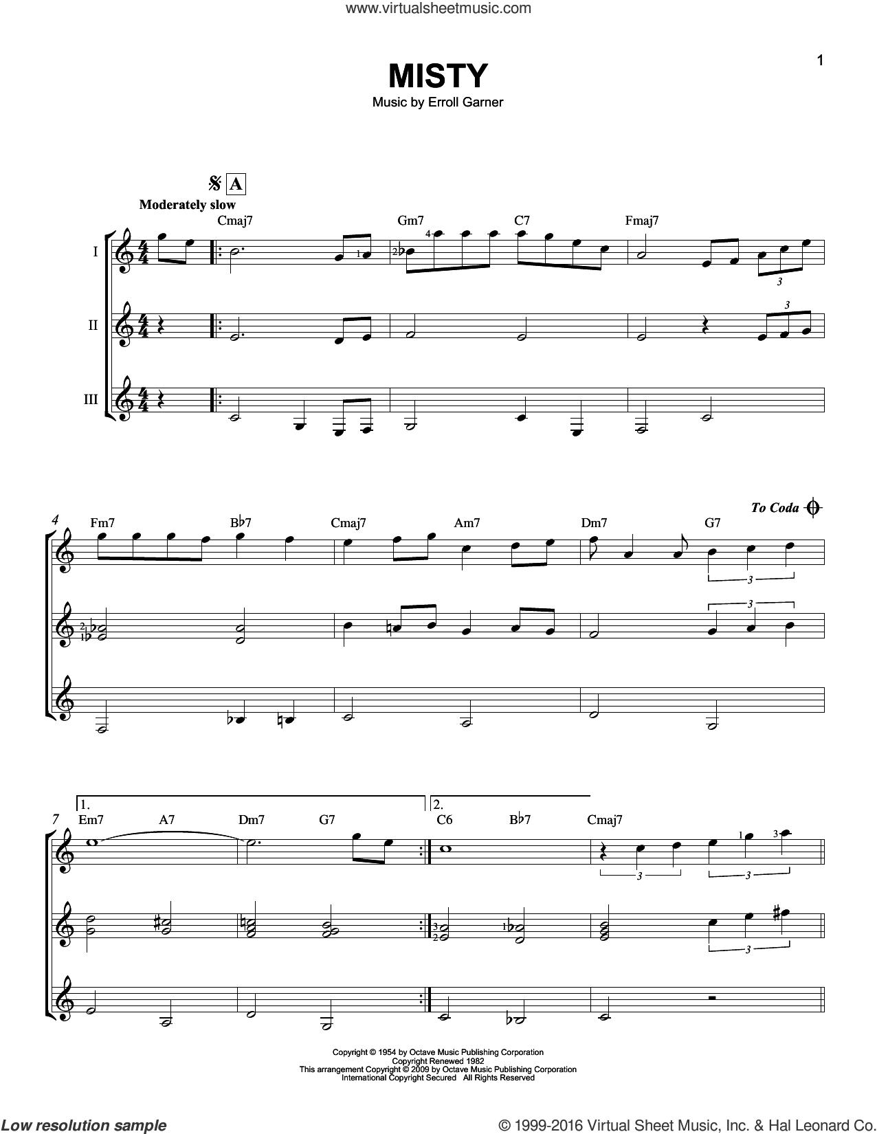 Misty sheet music for guitar ensemble by Johnny Mathis, Erroll Garner and John Burke, intermediate skill level