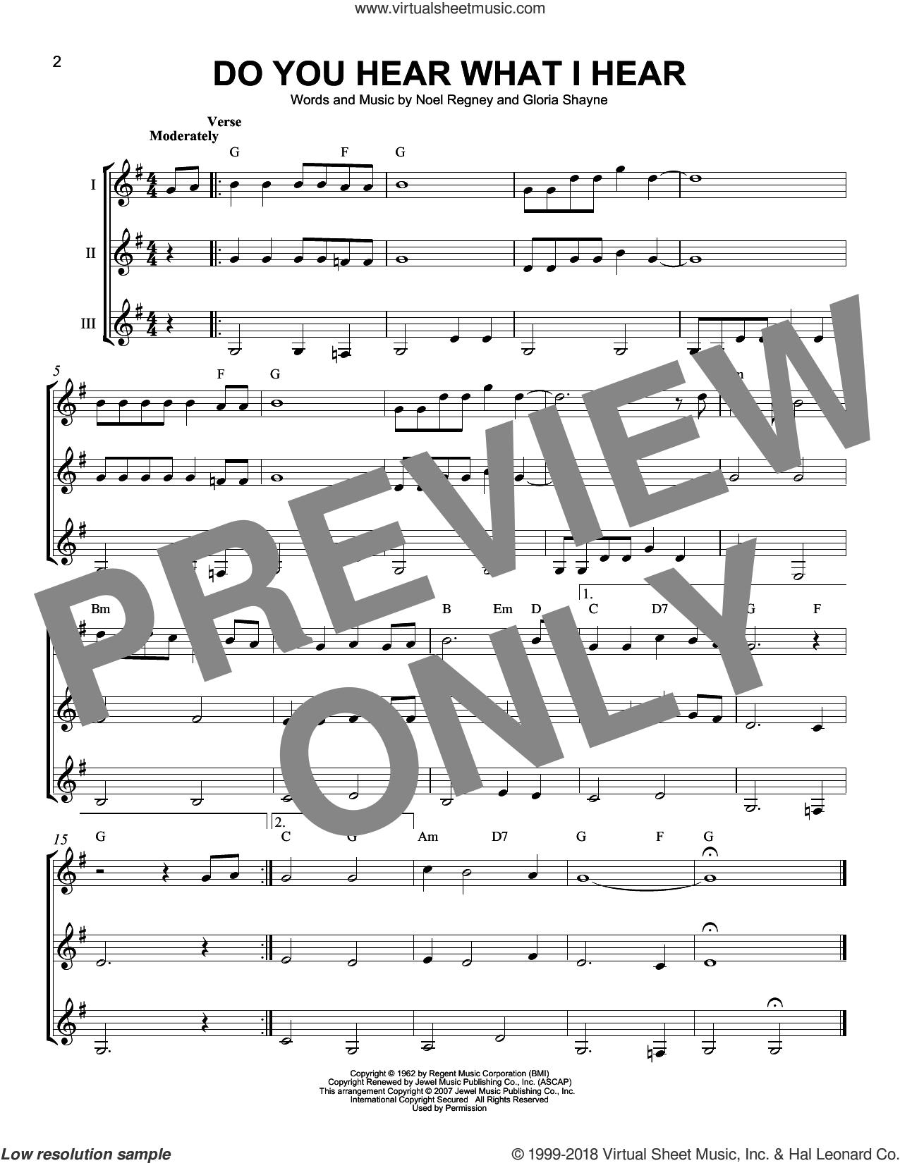 Do You Hear What I Hear sheet music for guitar ensemble by Noel Regney & Gloria Shayne, Carole King, Carrie Underwood, Gloria Shayne and Noel Regney, intermediate skill level
