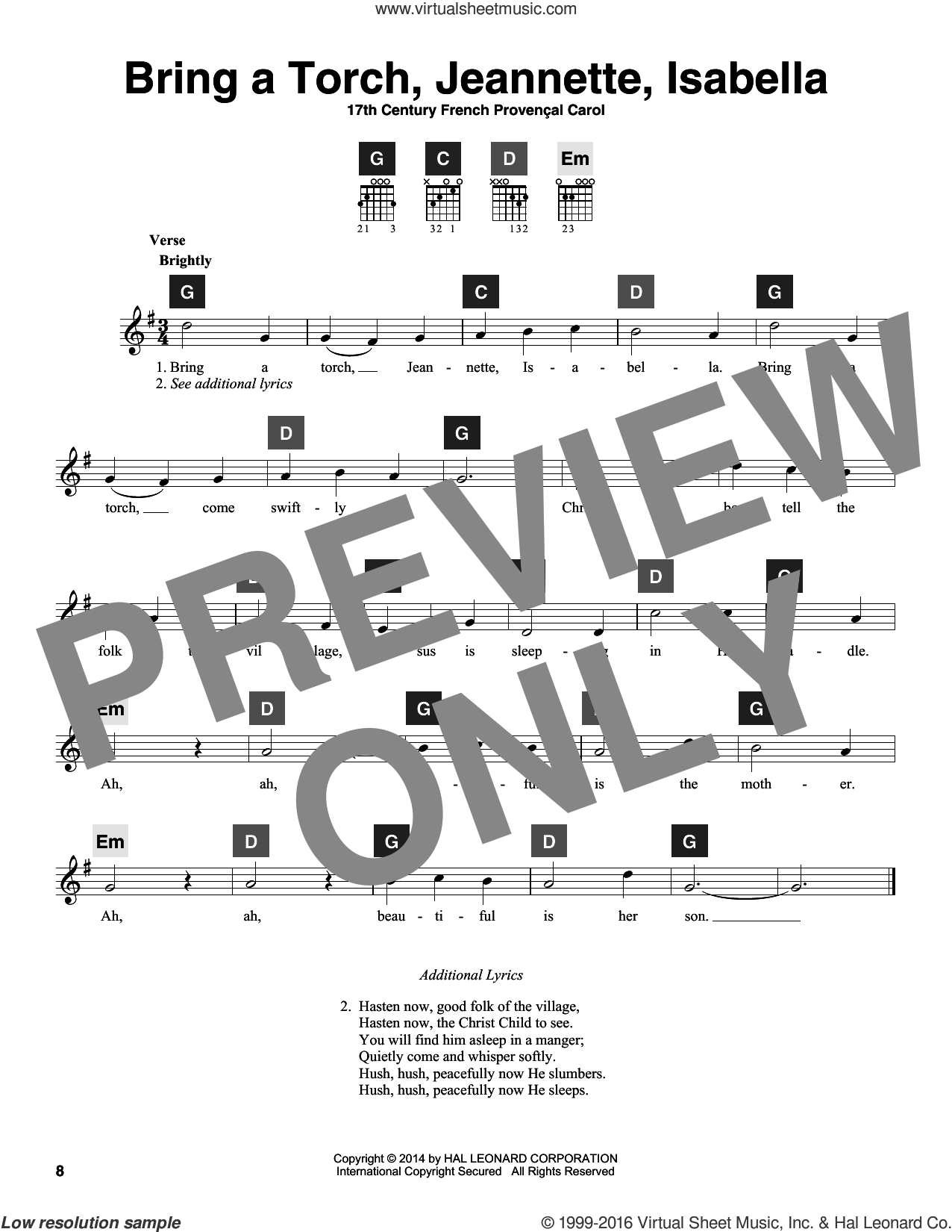 Bring A Torch, Jeannette, Isabella sheet music for guitar solo (ChordBuddy system) by Anonymous and Miscellaneous. Score Image Preview.