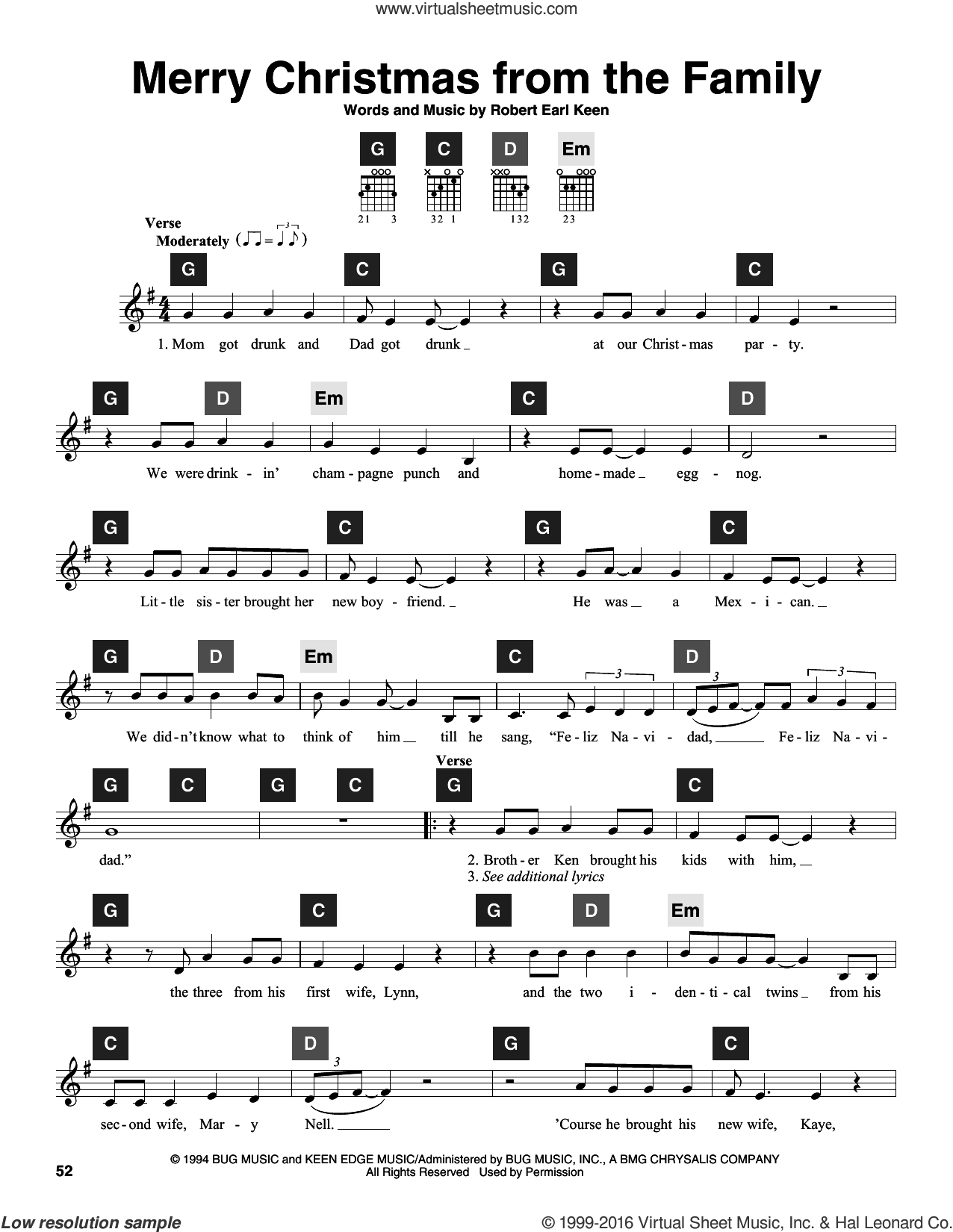Merry Christmas From The Family sheet music for guitar solo (ChordBuddy system) by Robert Earl Keen and Travis Perry, intermediate guitar (ChordBuddy system). Score Image Preview.