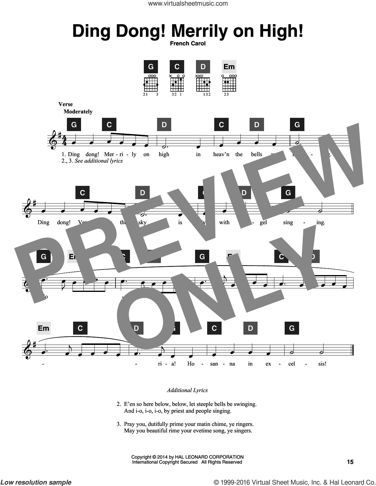 Ding Dong! Merrily On High! sheet music for guitar solo (ChordBuddy system). Score Image Preview.
