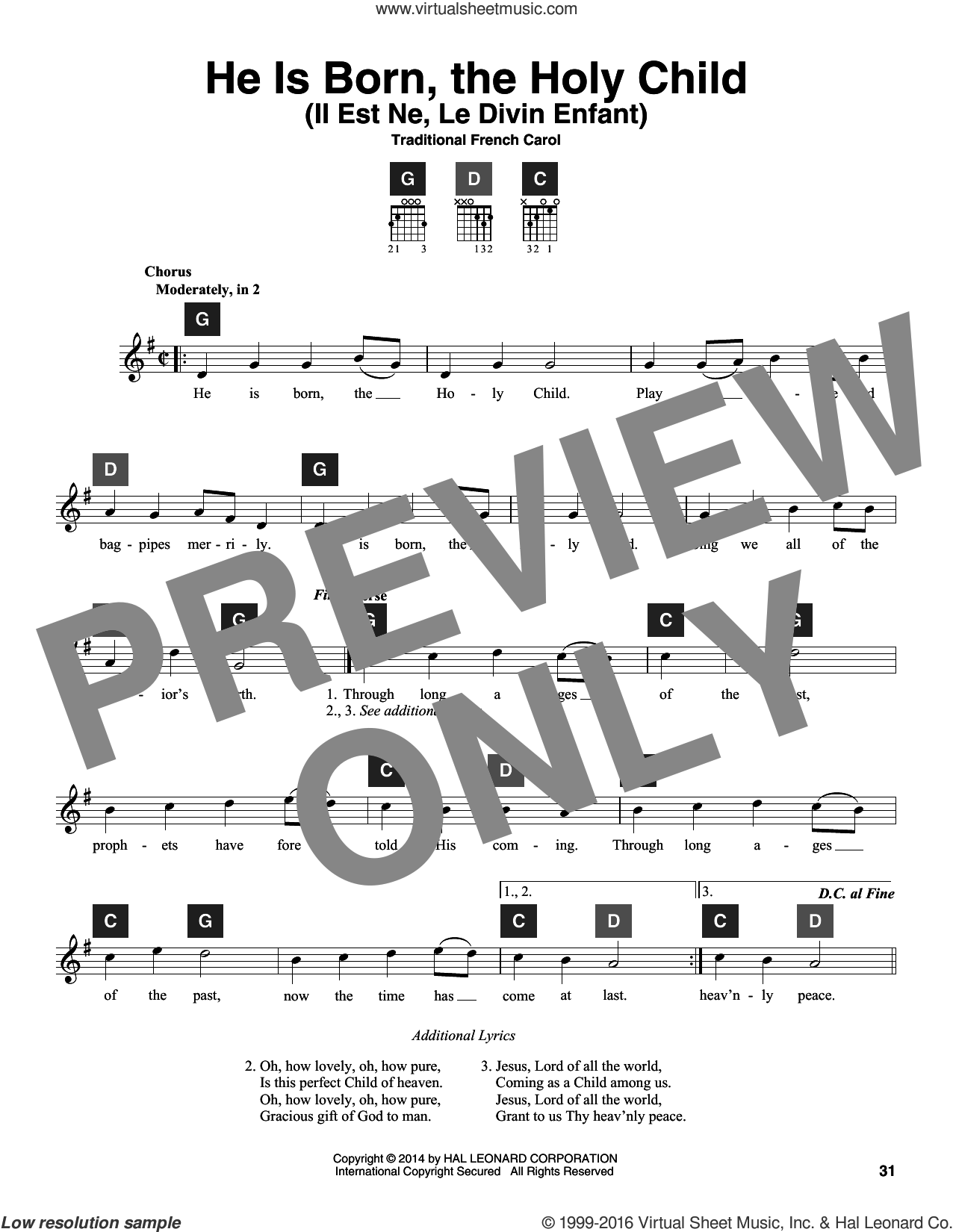 He Is Born, The Holy Child (Il Est Ne, Le Divin Enfant) sheet music for guitar solo (ChordBuddy system)  and Travis Perry, intermediate guitar (ChordBuddy system)