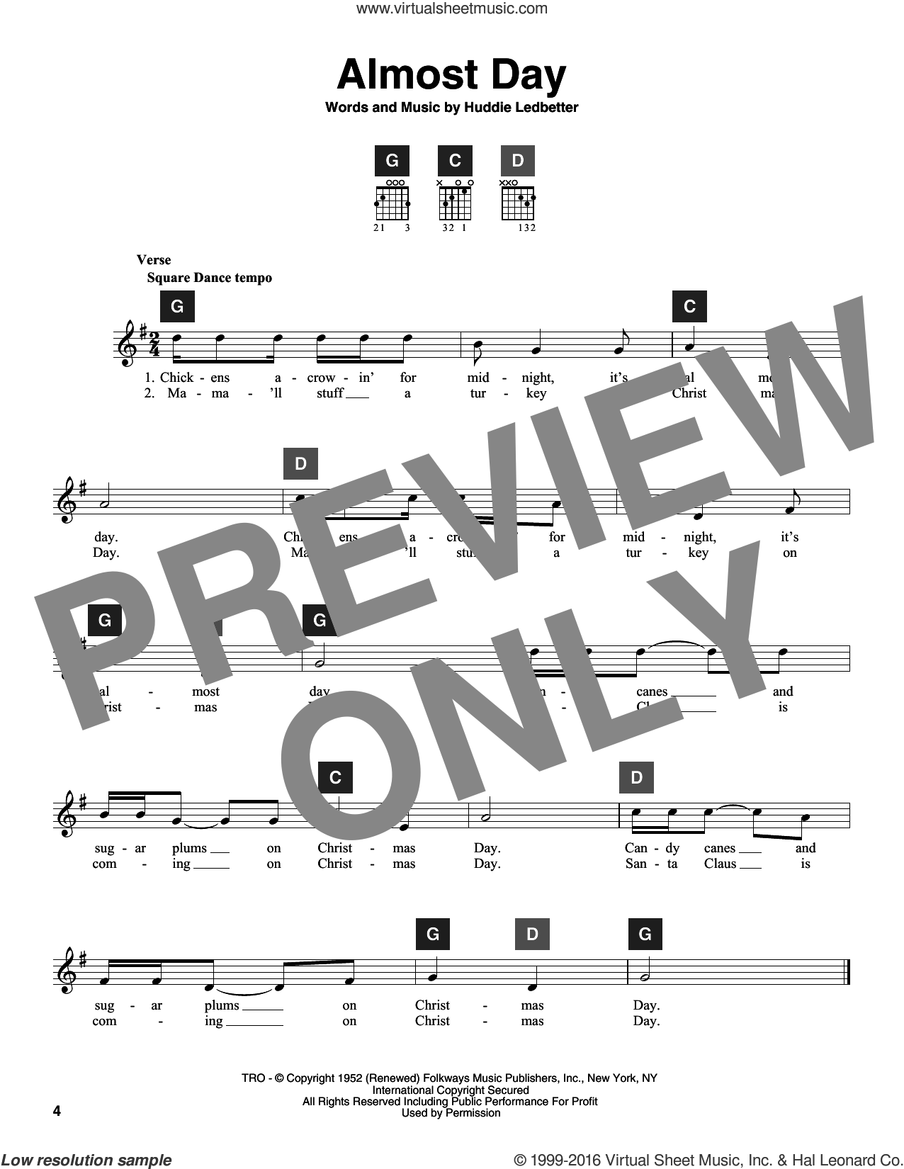 Almost Day sheet music for guitar solo (ChordBuddy system) by Huddie Ledbetter. Score Image Preview.