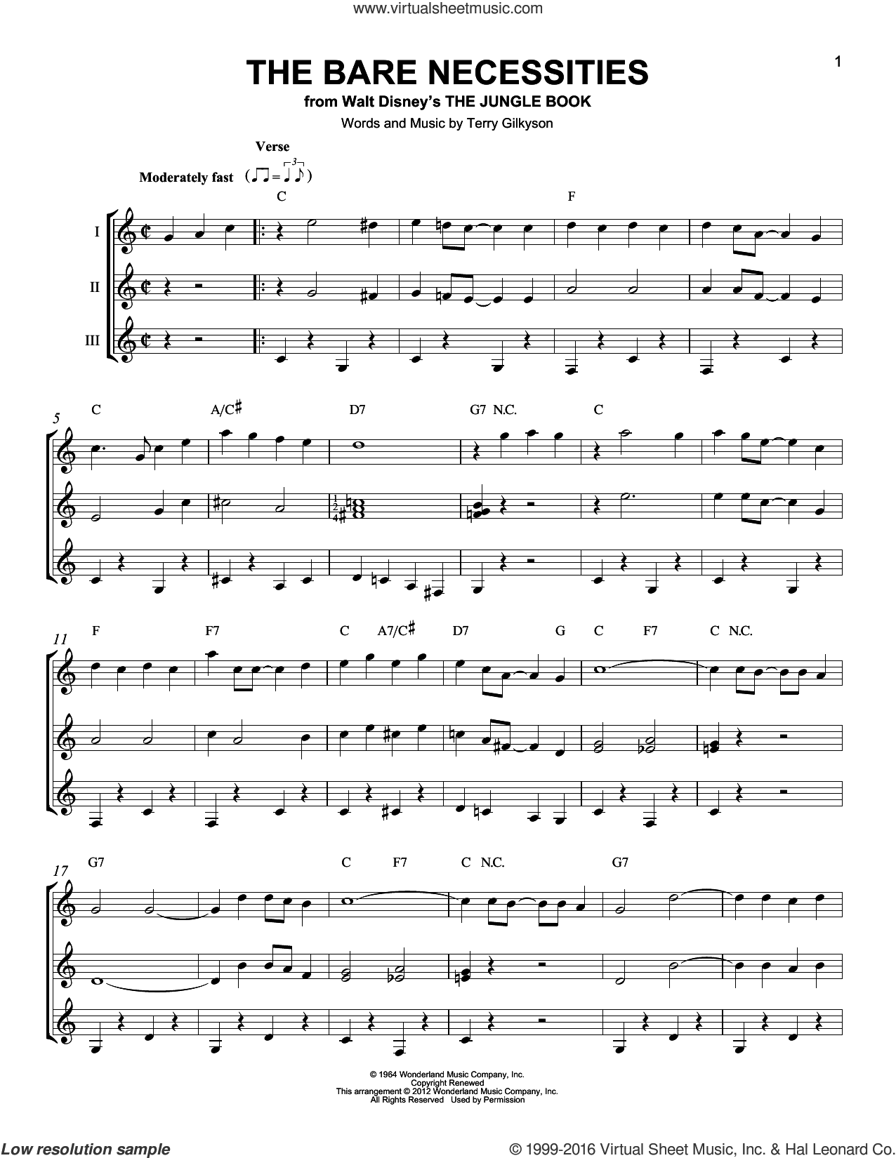The Bare Necessities sheet music for guitar ensemble by Terry Gilkyson, intermediate skill level