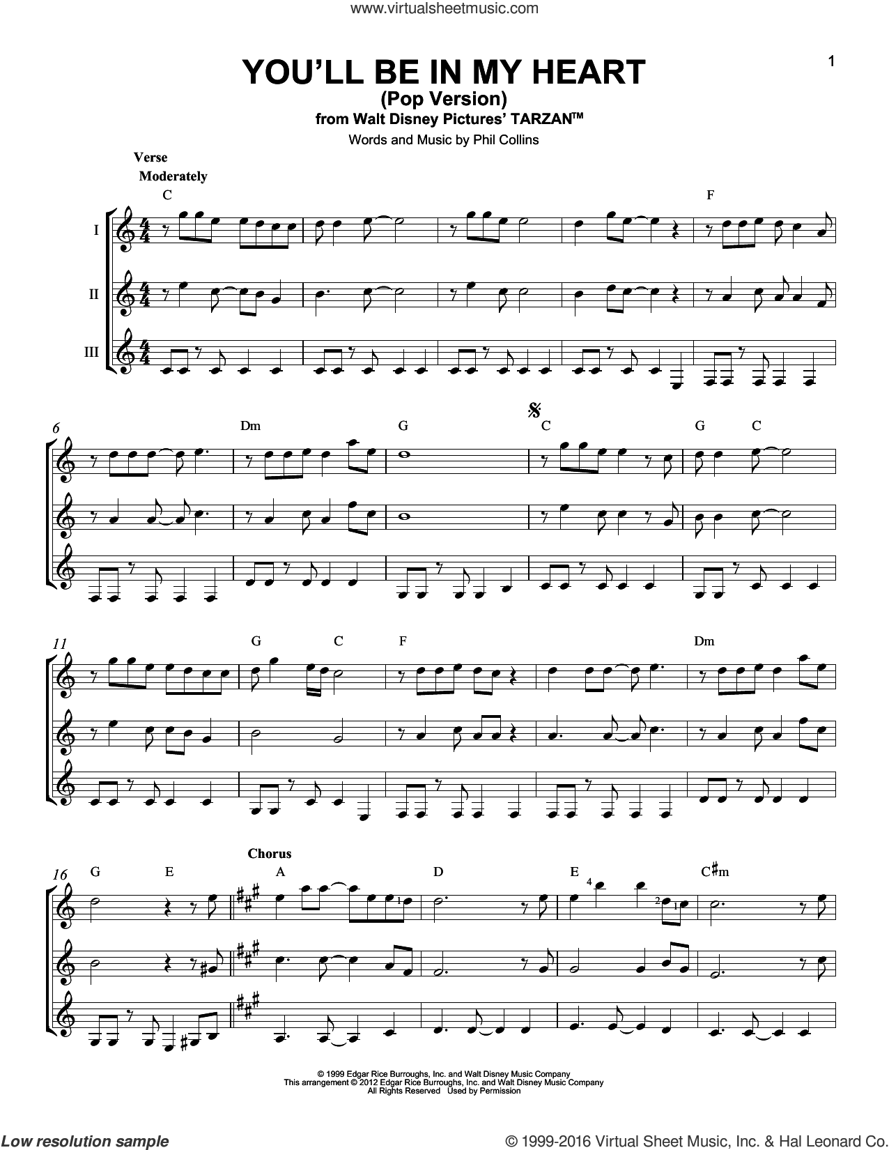 You'll Be In My Heart (Pop Version) sheet music for guitar ensemble by Phil Collins, intermediate skill level