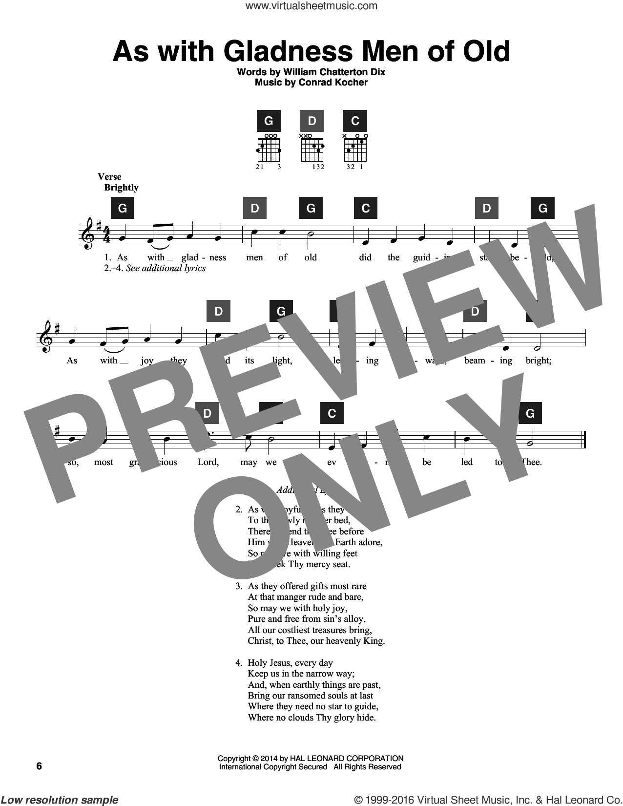 As With Gladness Men Of Old sheet music for guitar solo (ChordBuddy system) by William Chatterton Dix, Travis Perry and Conrad Kocher, intermediate guitar (ChordBuddy system). Score Image Preview.