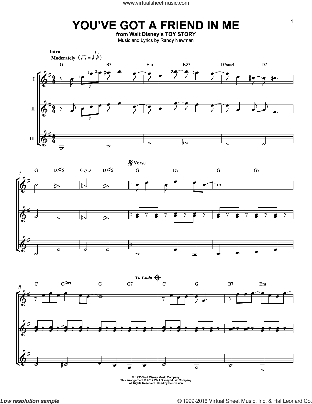 You've Got A Friend In Me (from Toy Story) sheet music for guitar ensemble by Randy Newman and Lyle Lovett, intermediate skill level